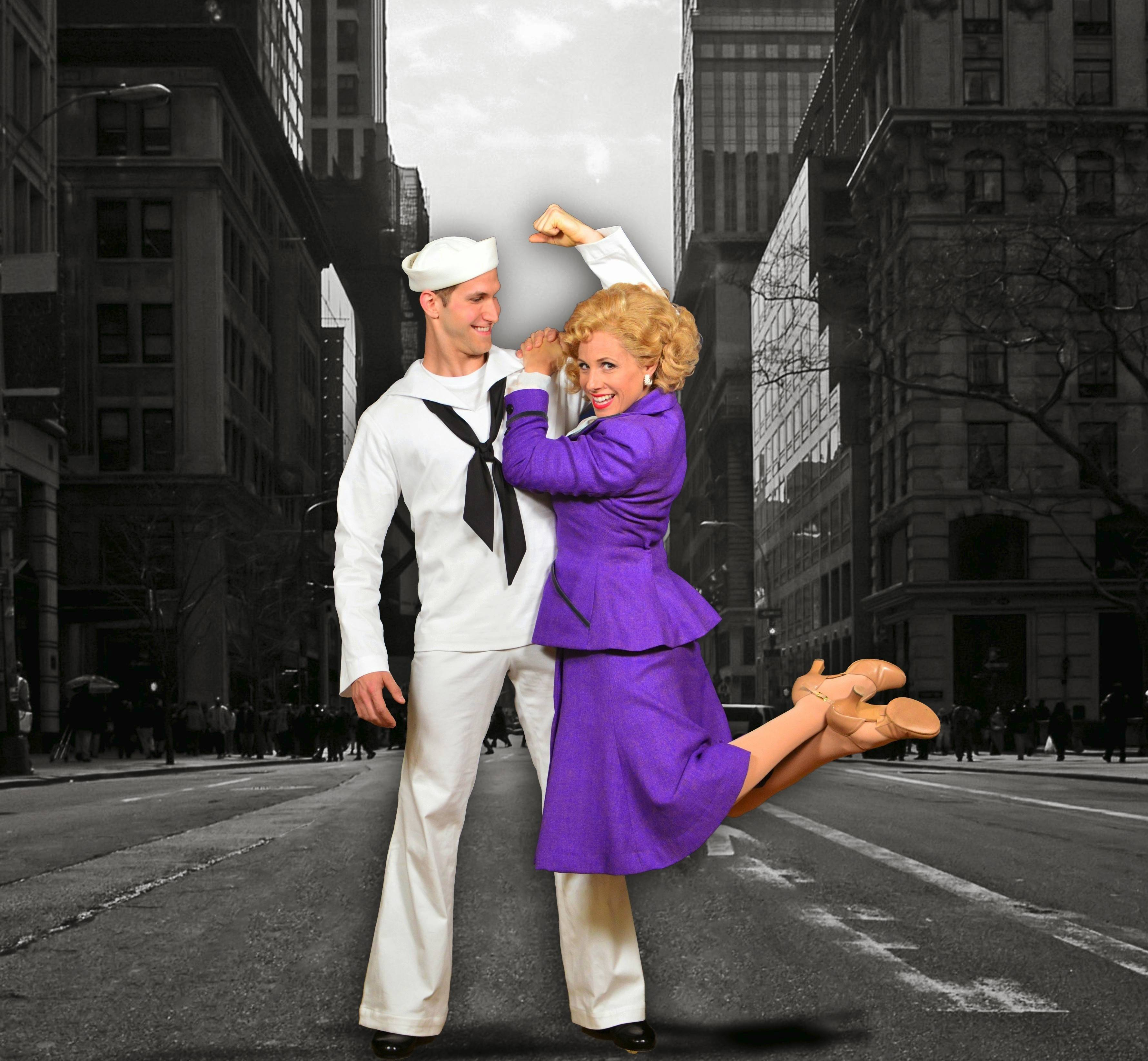 "Voice student Claire (Johanna McKenzie Miller, right) is impressed with the strength of sailor Ozzie (Max Clayton) in the Marriott Theatre's 70th anniversary production of Leonard Bernstein's 1944 Broadway musical ""On the Town."""