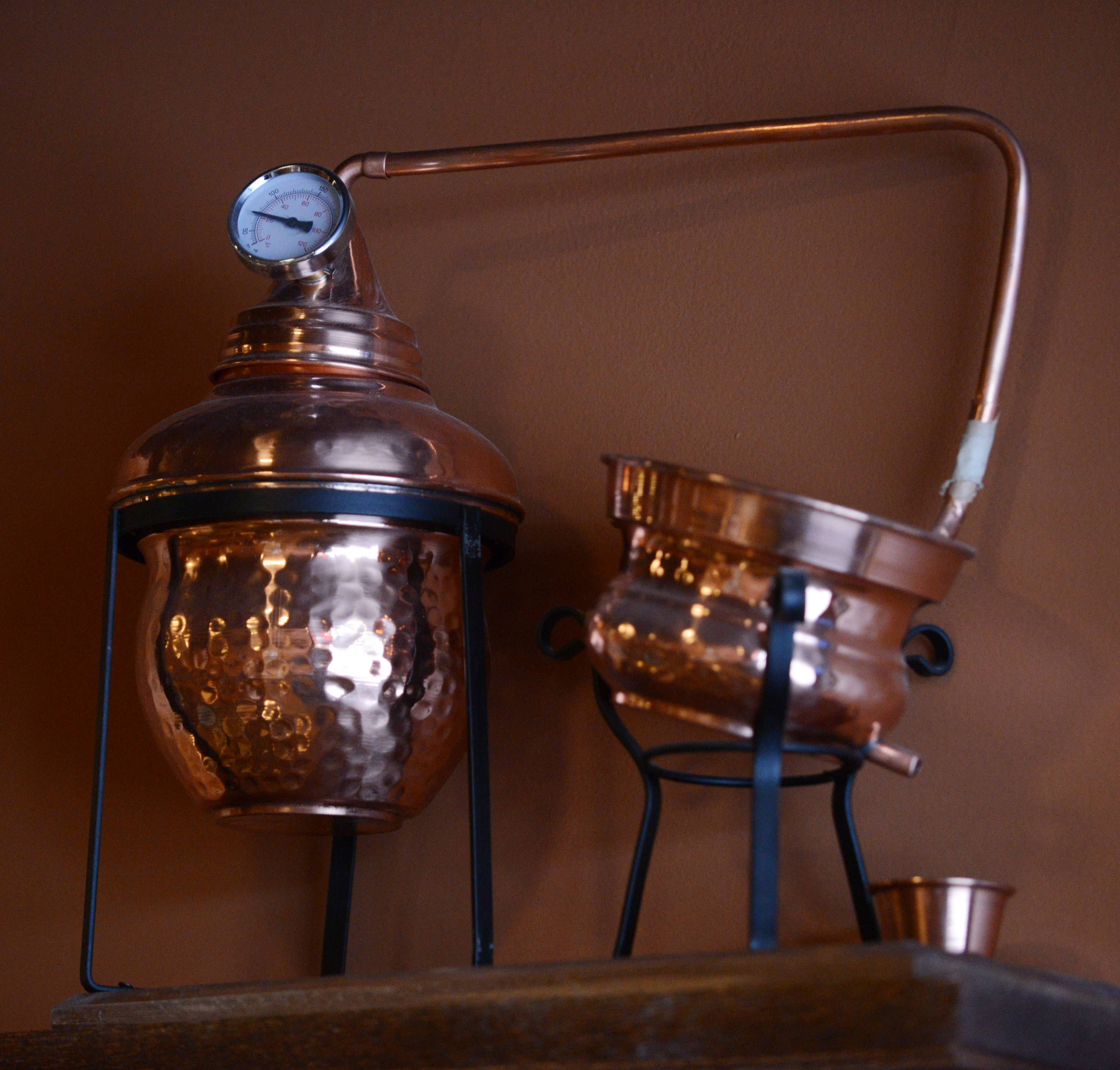A still like the kind used to make moonshine is on display at The Still Bar and Grill in Bartlett.
