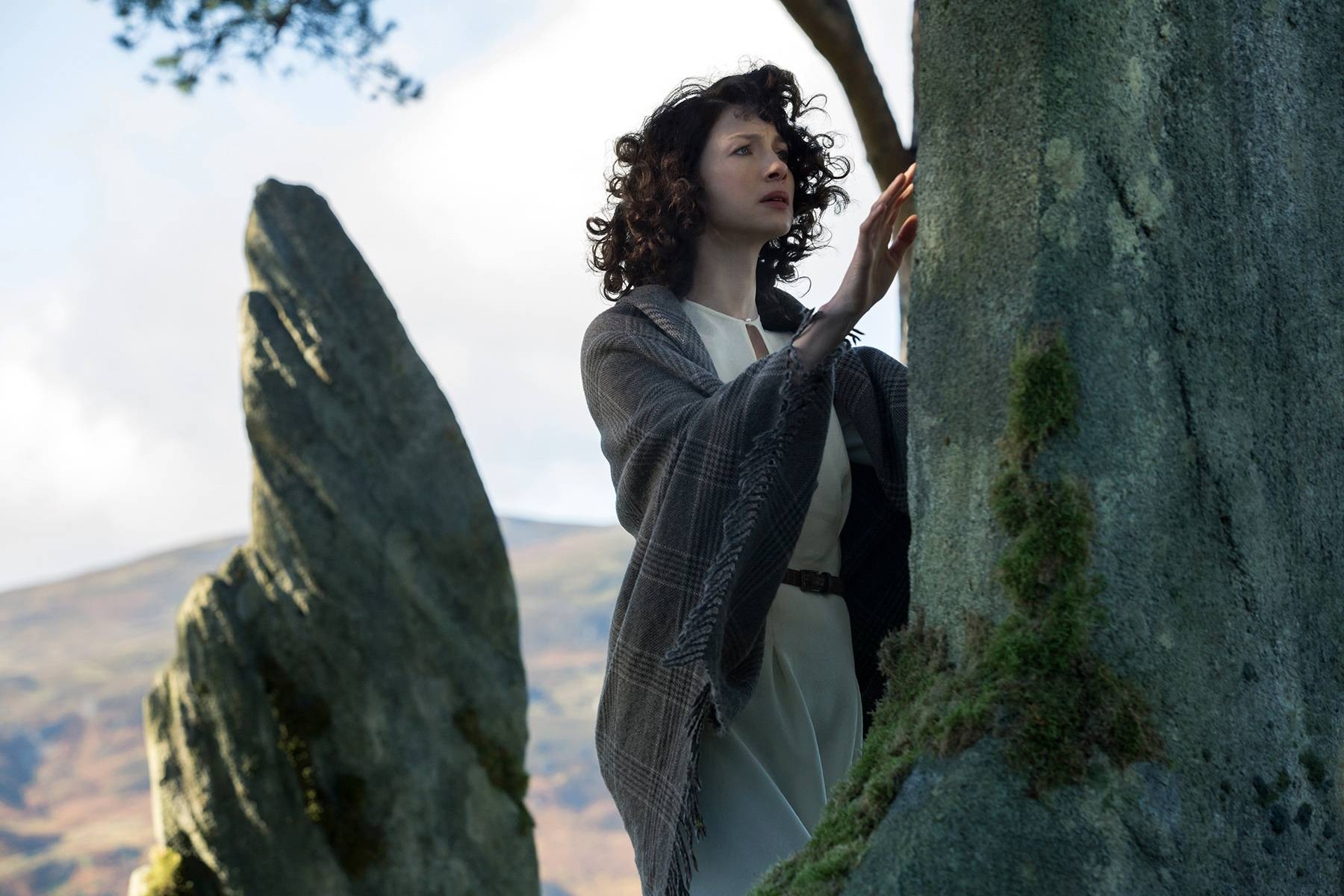 "Caitriona Balfe is Claire Randall in Starz's new TV series, ""Outlander."" The series premieres Saturday, Aug. 9."