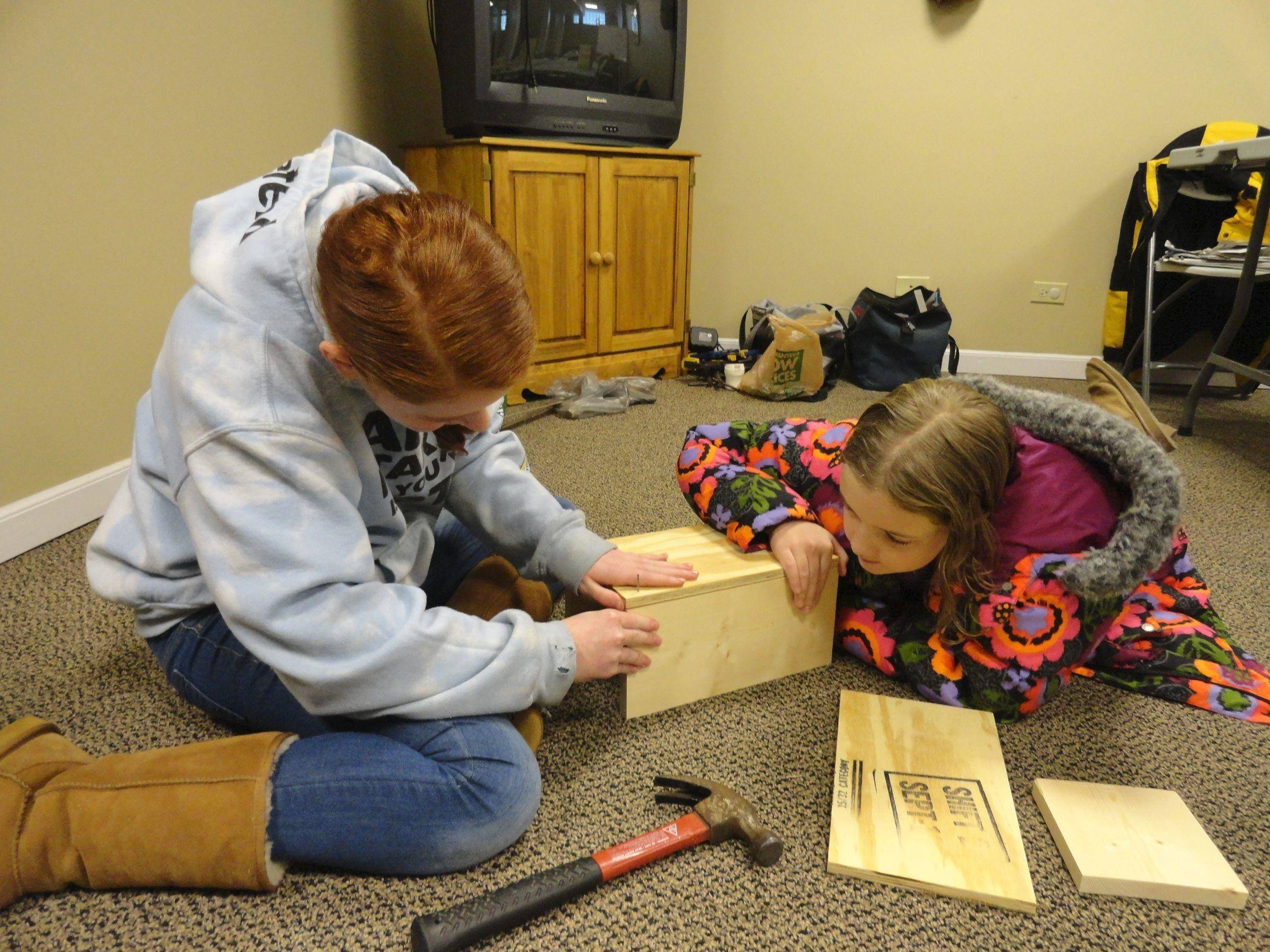 Fox Valley Jewish School students Zoe and Jessica, left, Steele build a squirrel box for the furry residents of Fox Valley Wildlife Center in Elburn.