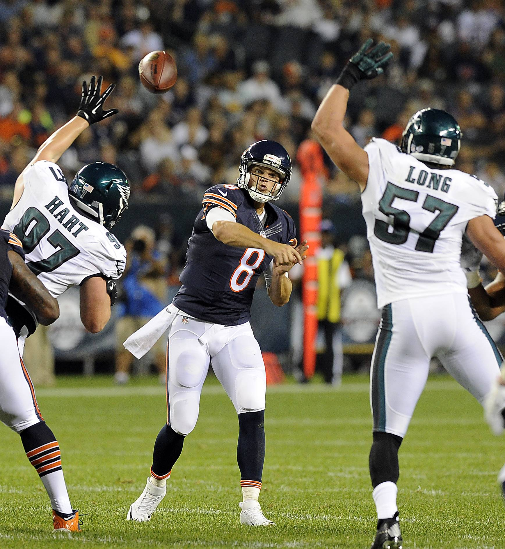 Chicago Bears quarterback Jimmy Clausen's touchdown pass to Micheal Spurlock puts the Bears ahead  against Philadelphia on this play.