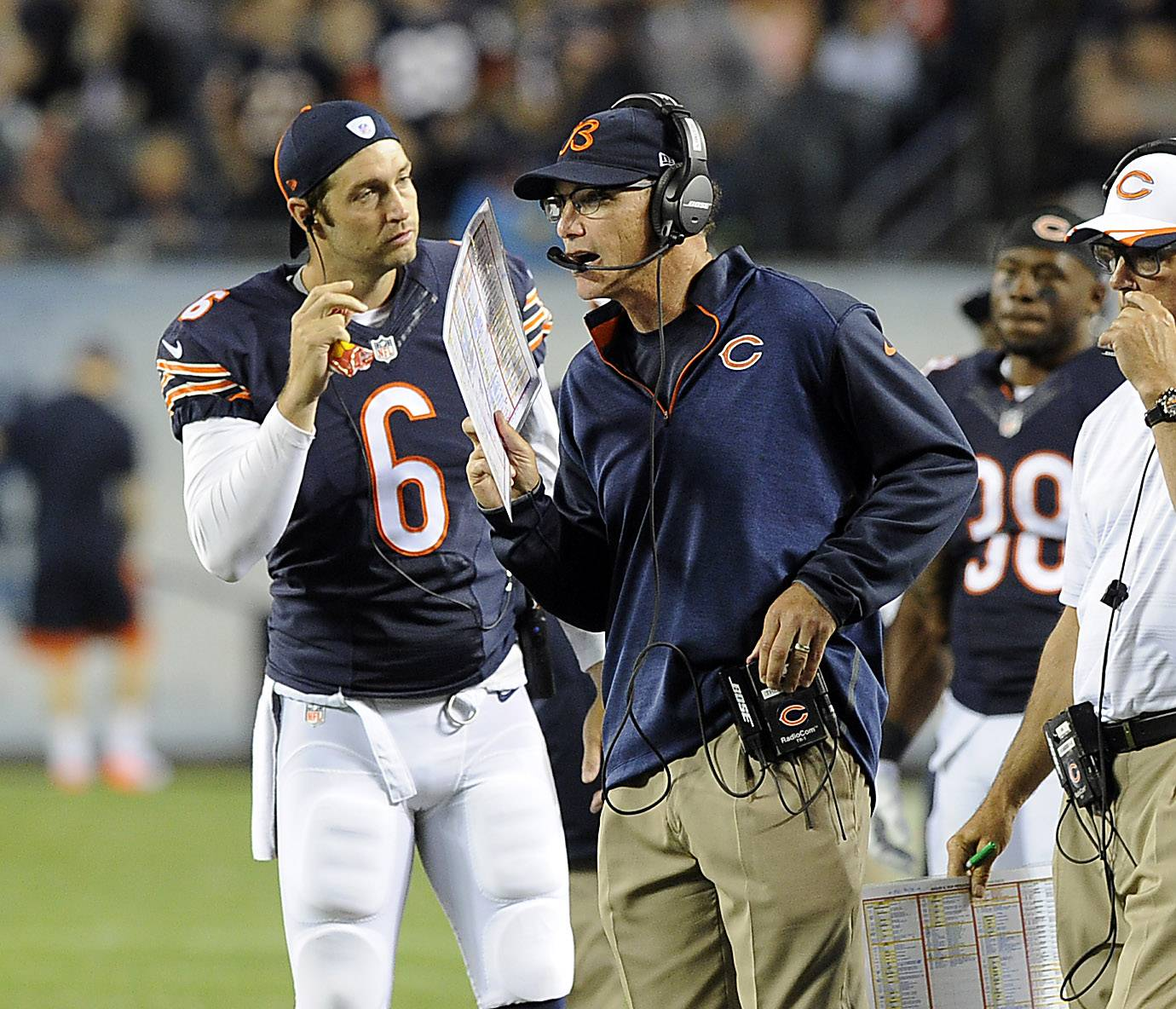 Chicago Bears coach Marc Trestman and quarterback Jay Cutler in the third quarter.