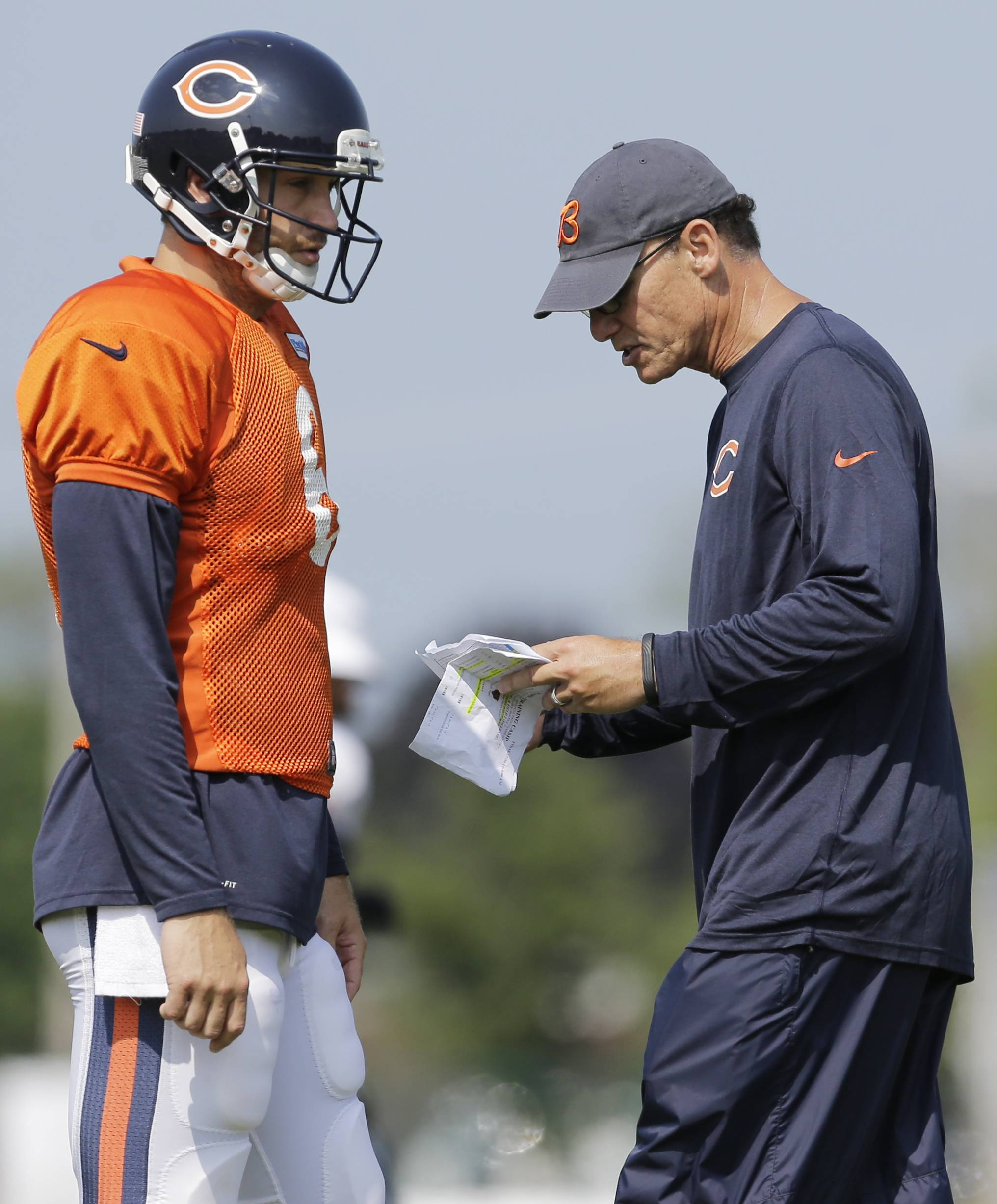 Bears coach Marc Trestman, talking with quarterback Jay Cutler, must be a joy for the media that covers the team.
