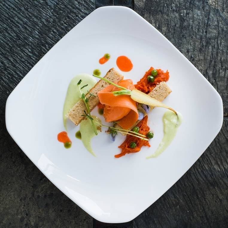 The Peas & Carrots dish at Kelly Liken in Vail, Colorado, is among the desserts Kelly Liken and pastry chef Colleen Carey have come up with. This concoction includes brown butter, a sauce of English peas alongside carrot sorbet and carrot marmalade.