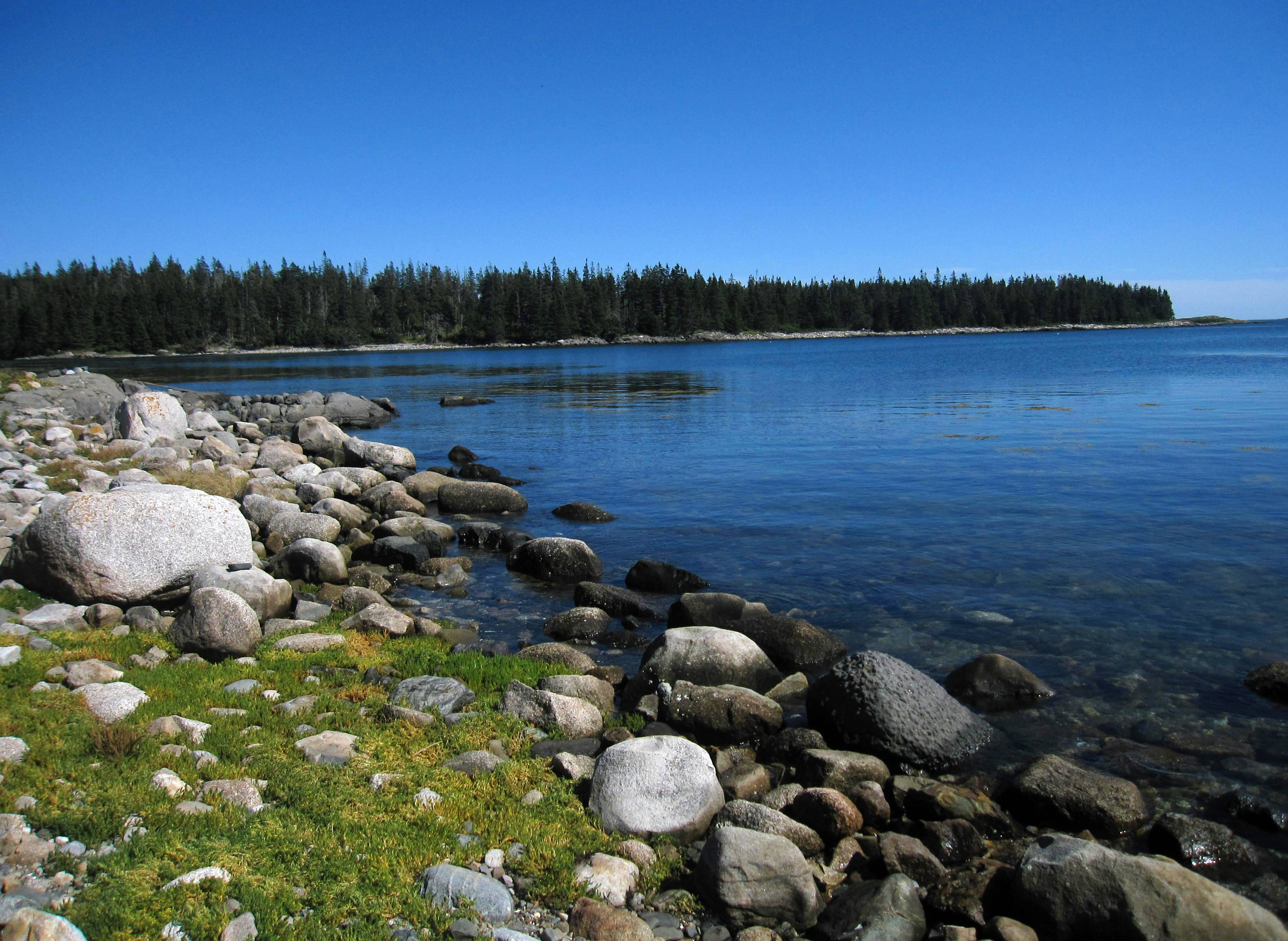 A quiet waterfront cove with a rocky shore is framed by evergreen trees on Maine's Vinalhaven Island. The island, reachable by a 75-minute ferry from the coastal town of Rockland, offers summertime visitors scenery, history, great places to bike and good food.