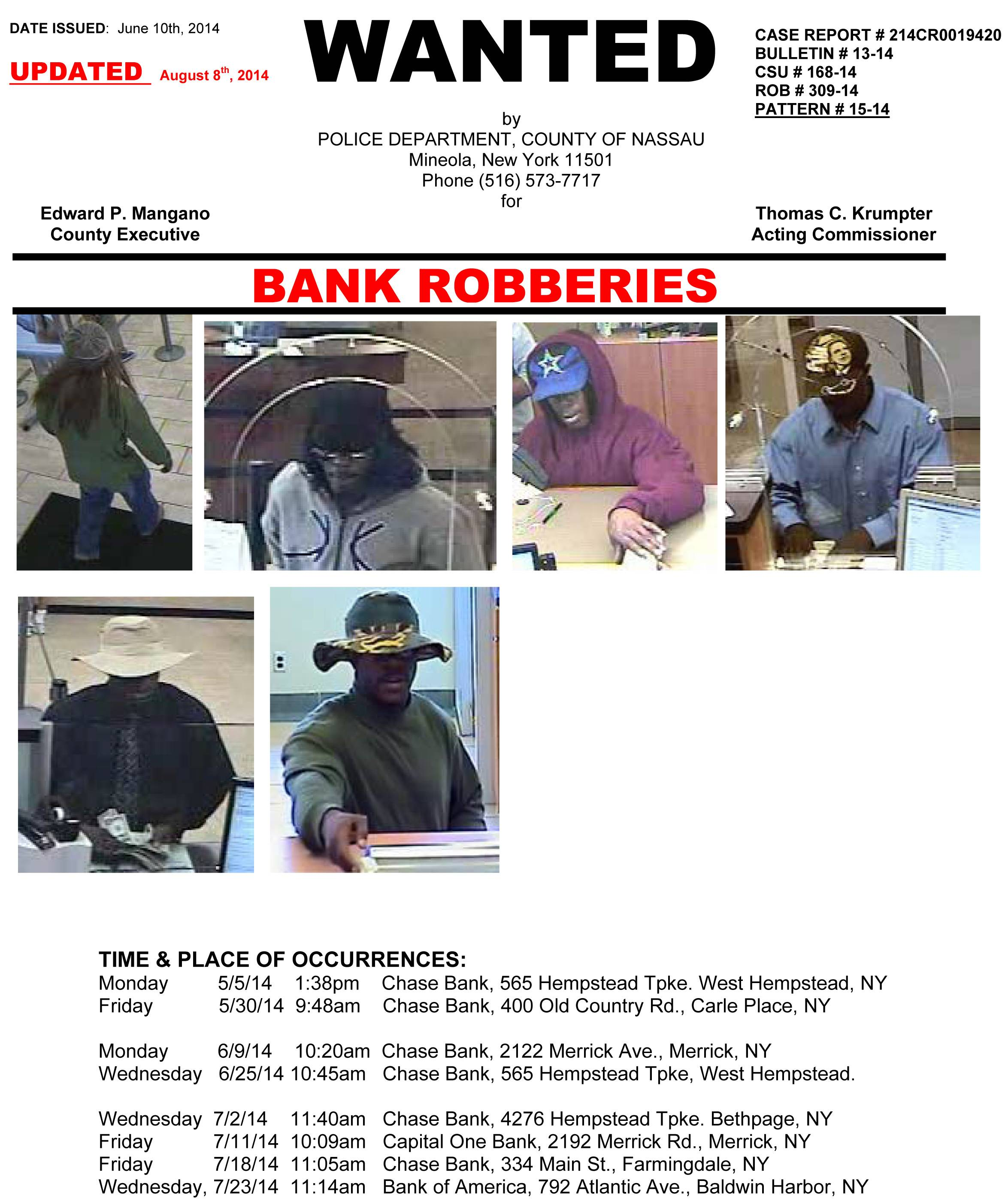A Wanted Poster shows a man wearing six different hats while robbing banks on New York's Long Island.