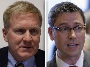 Tom Cross, left, and Michael Frerichs are candidates for Illinois treasurer