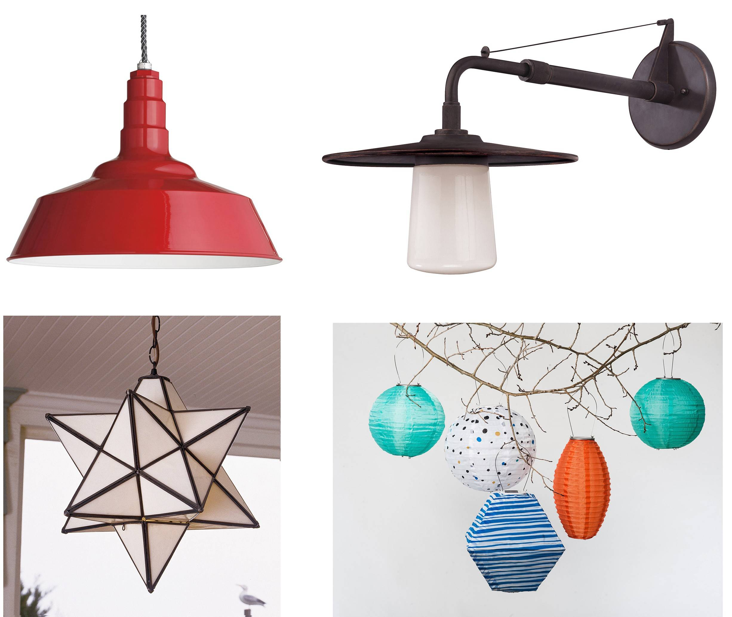 Outdoor lighting can have a dramatic impact on landscaping. Some outdoor lighting options include, clockwise from top left, Design Within Reach's pendant barn lamp, Lakehouse wall-mount lantern, Soji's hanging solar lantern and the Superior Moravian Star.