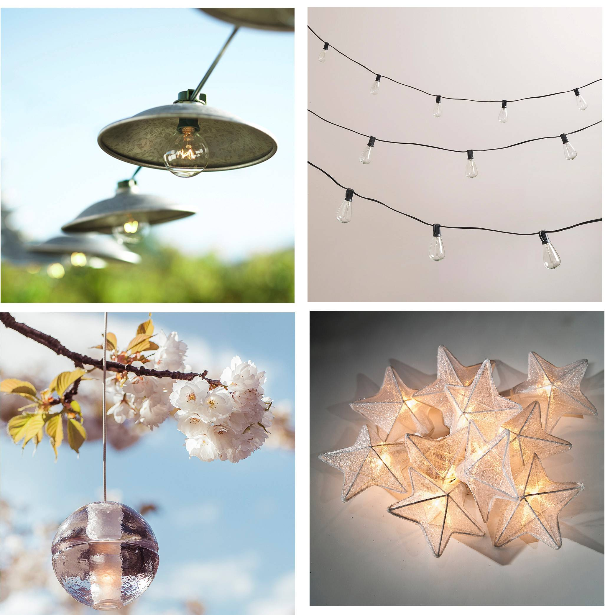 Outdoor lighting can have a dramatic impact on landscaping. Some outdoor lighting options include, clockwise from top left, Pottery Barn's cafe string lights, World Market's Edison-style string lights, Luna Bazaar's white organza string lights and Bocci's cast-blown glass outdoor pendant.
