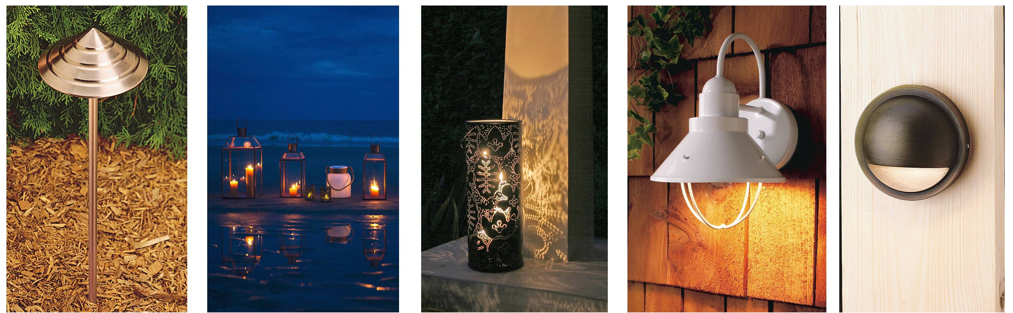 Outdoor lighting can have a dramatic impact on landscaping. Some outdoor lighting options include, from left, Kichler's copper path lights, Terrain's copper Mansard lanterns, NotNeutral's Season metal lantern, Plow & Hearth's Old Brooke light and Kichler's cast-brass deck light.
