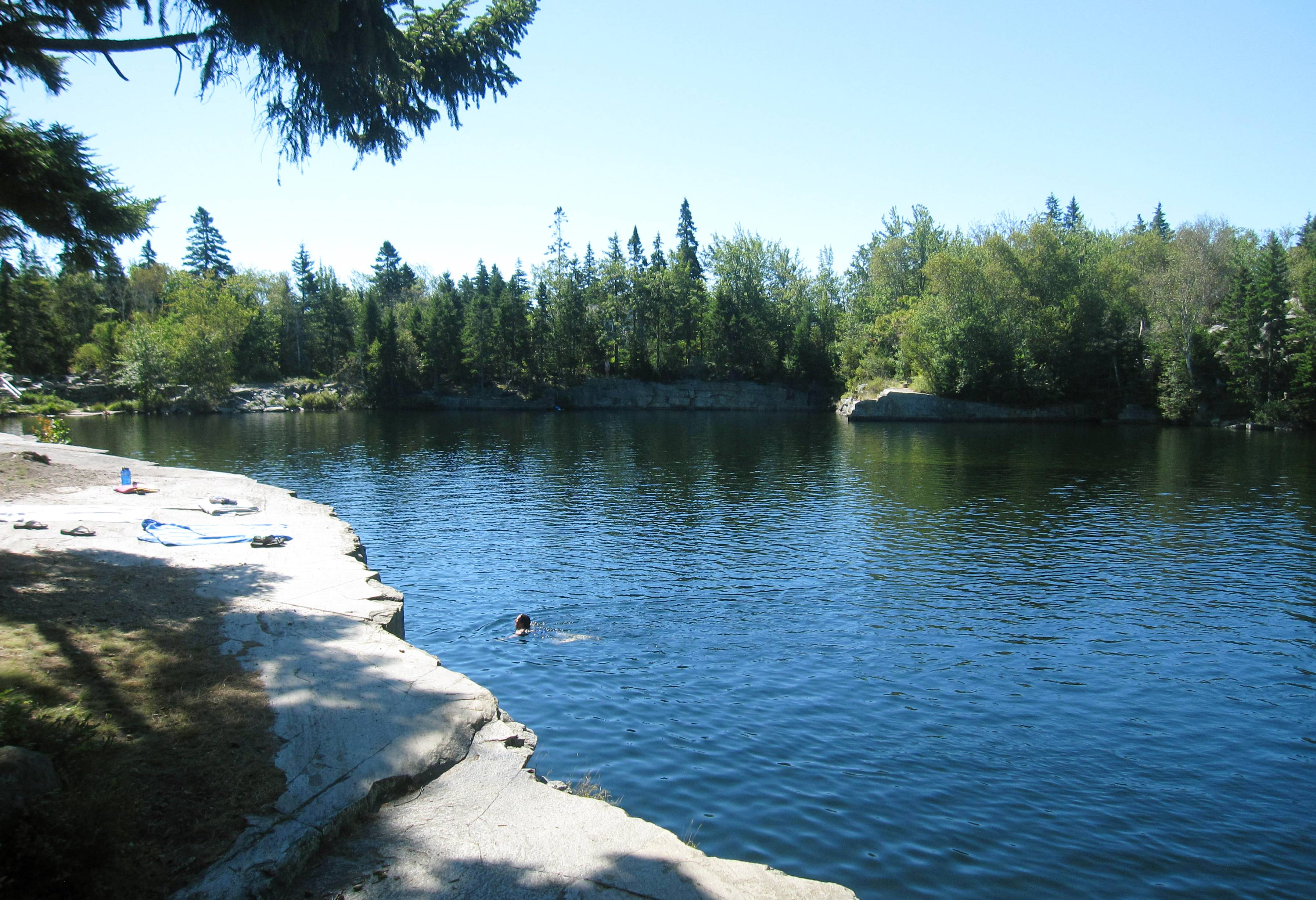 This old granite quarry is now used as a summertime swimming spot on Vinalhaven Island, Maine.