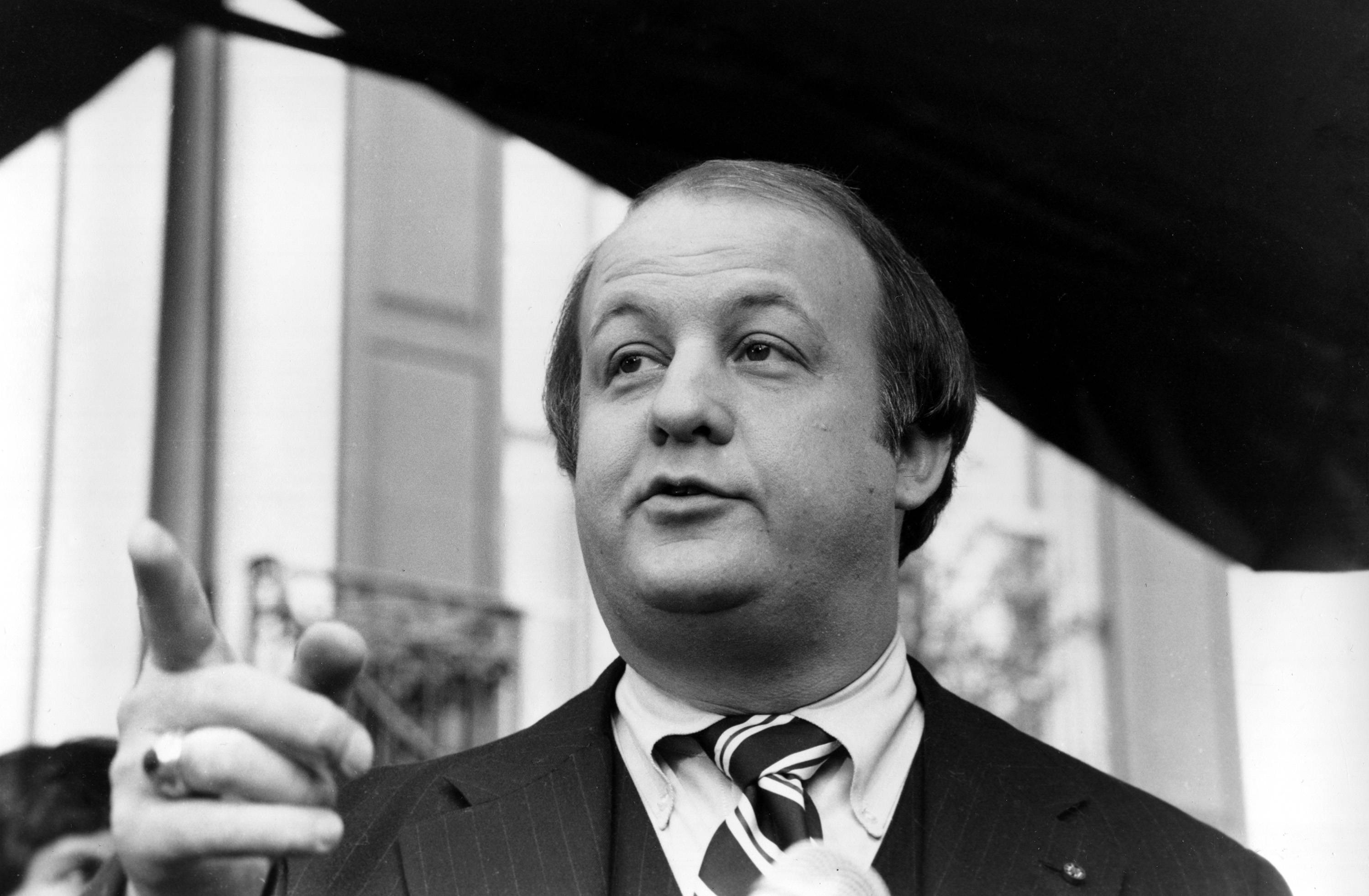 James Brady, selected by president-elect Ronald Reagan to become his press secretary, talking to reporters.