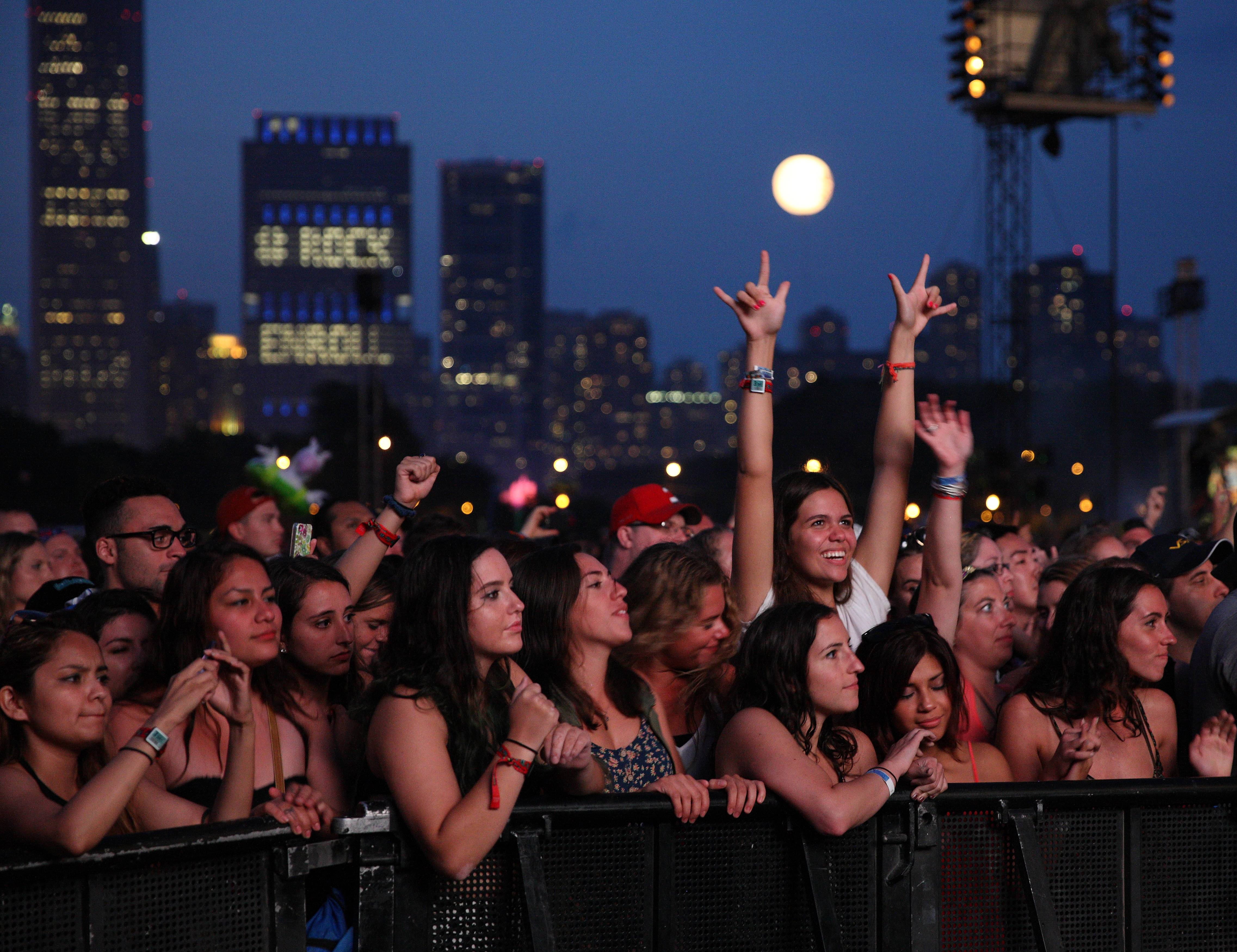 Fans await a performance at Lollapalooza in Grant Park on Aug. 3.