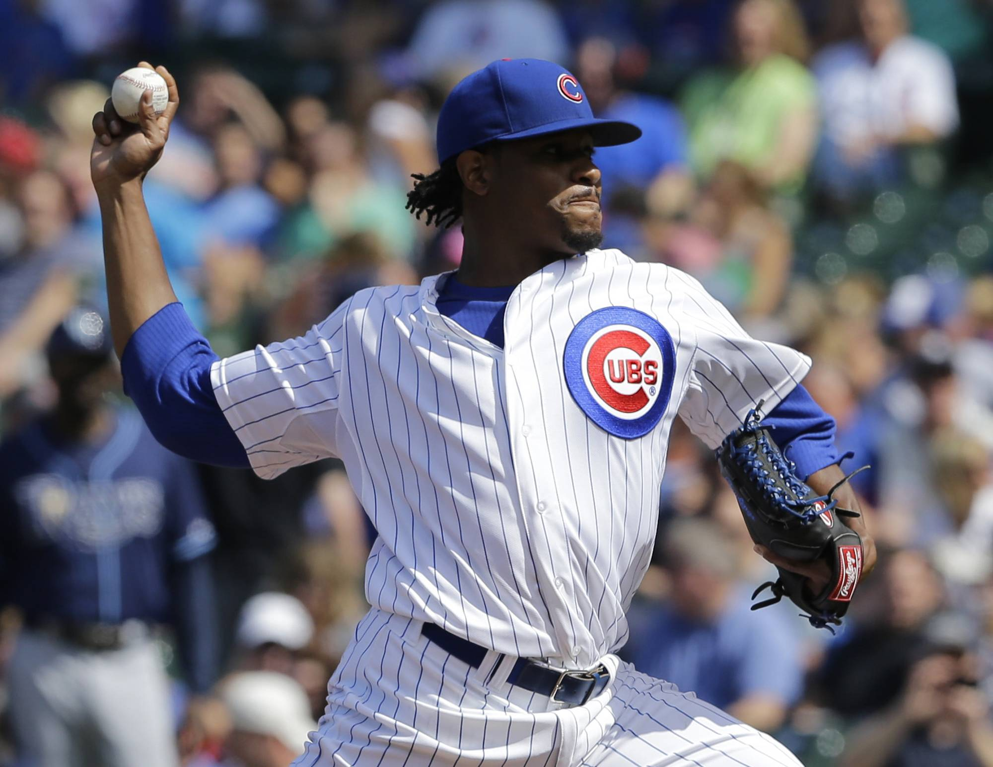 Cubs starter Edwin Jackson throws against the Tampa Bay Rays during Saturday's game at Wrigley Field. The Cubs lost 4-0. Jackson allowed four runs -- three earned -- and five hits in six innings. He is 1-5 in his past nine starts.