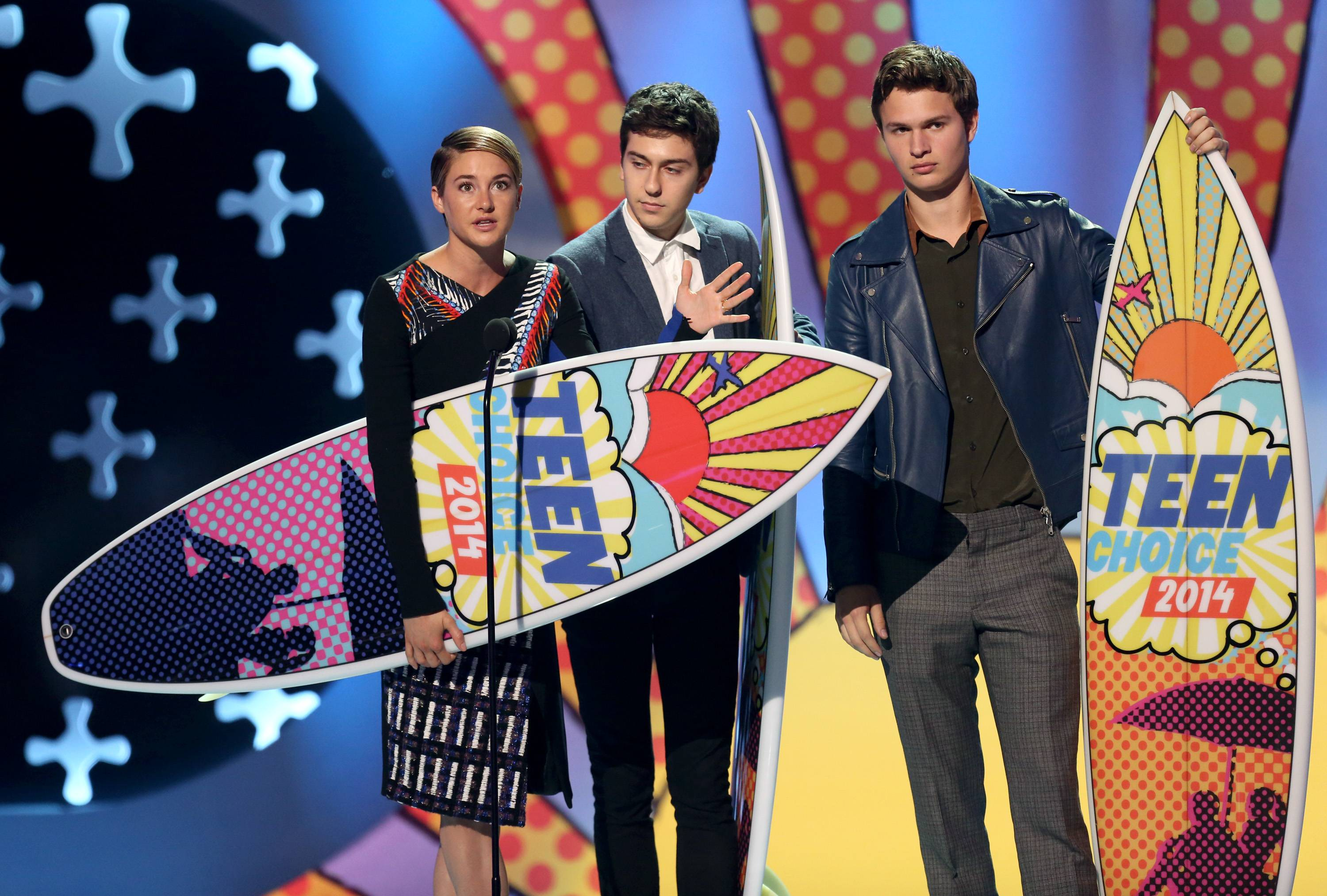 "Shailene Woodley, from left, Nat Wolff and Ansel Elgort accept the award for choice movie: drama for ""The Fault In Our Stars"" at the Teen Choice Awards at the Shrine Auditorium on Sunday in Los Angeles."