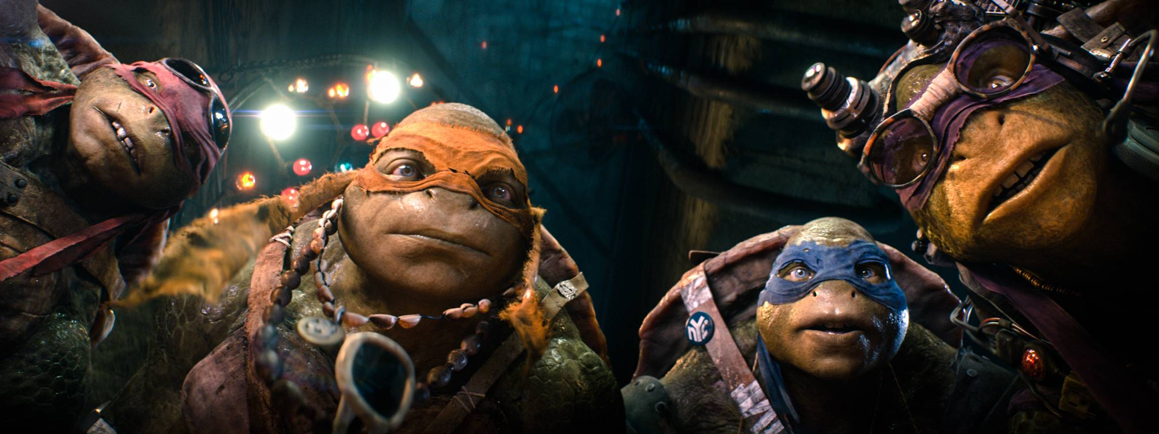 "Fharacters, from left, Raphael, Michelangelo, Leonardo, and Donatello in a scene from ""Teenage Mutant Ninja Turtles,"" which brought in $65 million in its first weekend of release."