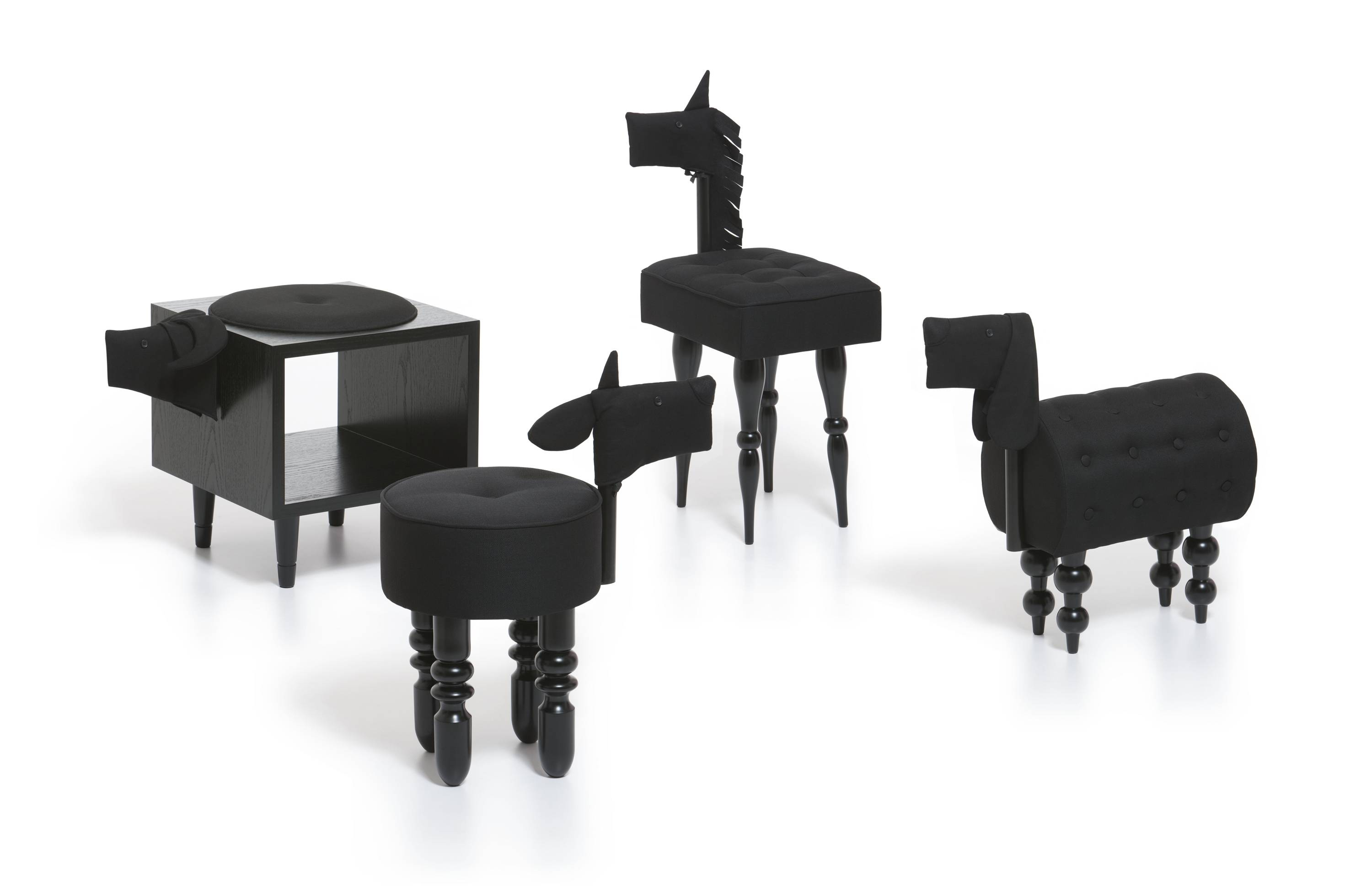 Baugust's whimsical chairs include a lamb, buffalo, dog and pony. Upholstered in black fabric and perched on curvy legs, they're at once clever seating and sculpture that nods to pop art at Mollaspace.com.