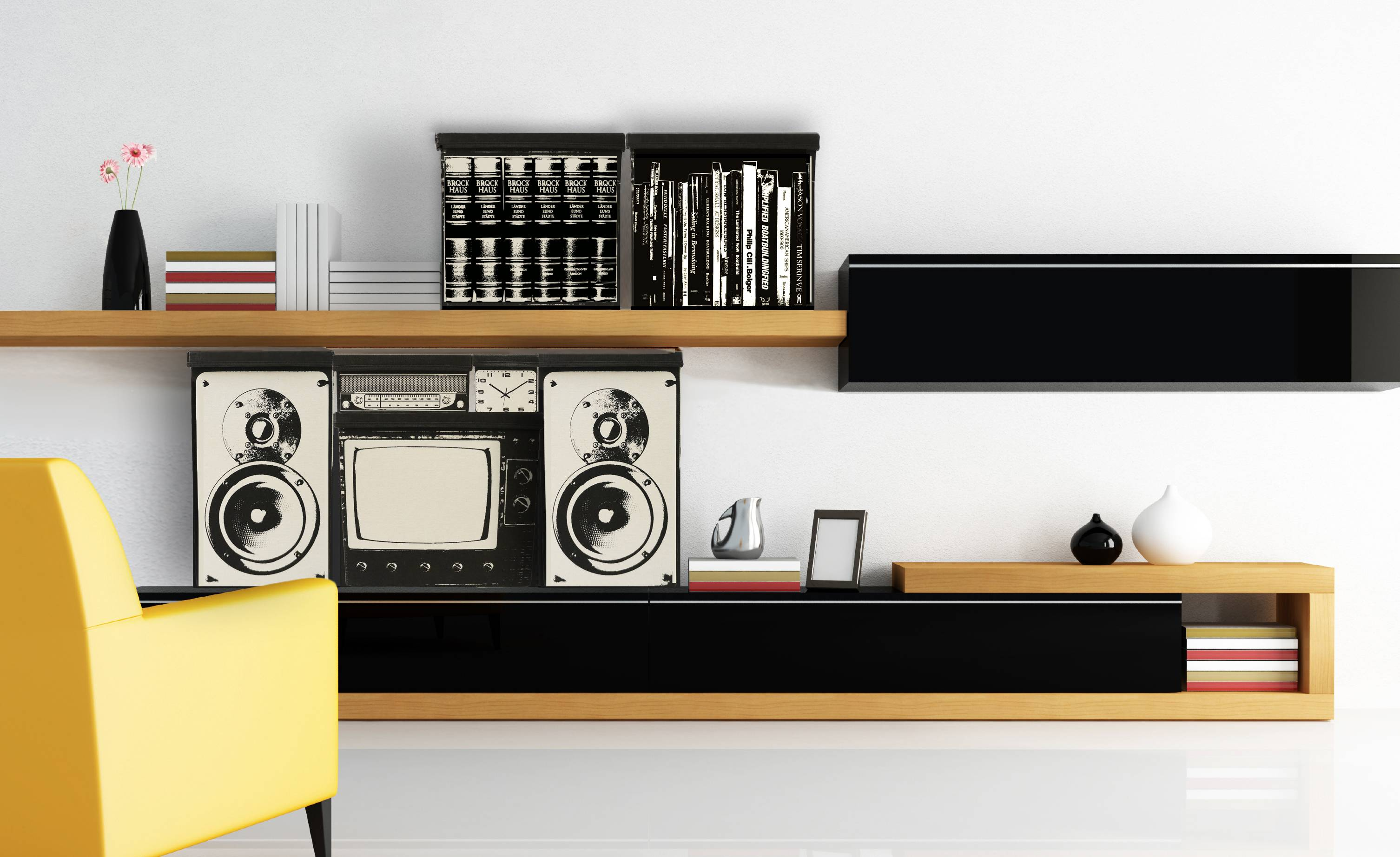A fun canvas storage system, with bins printed with iconic retro imagery like a TV set, boombox and 80s style speakers.