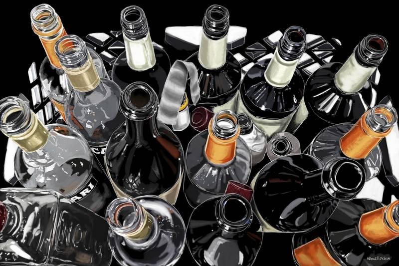 Right at home pop art packs decor punch for Liquor bottle art