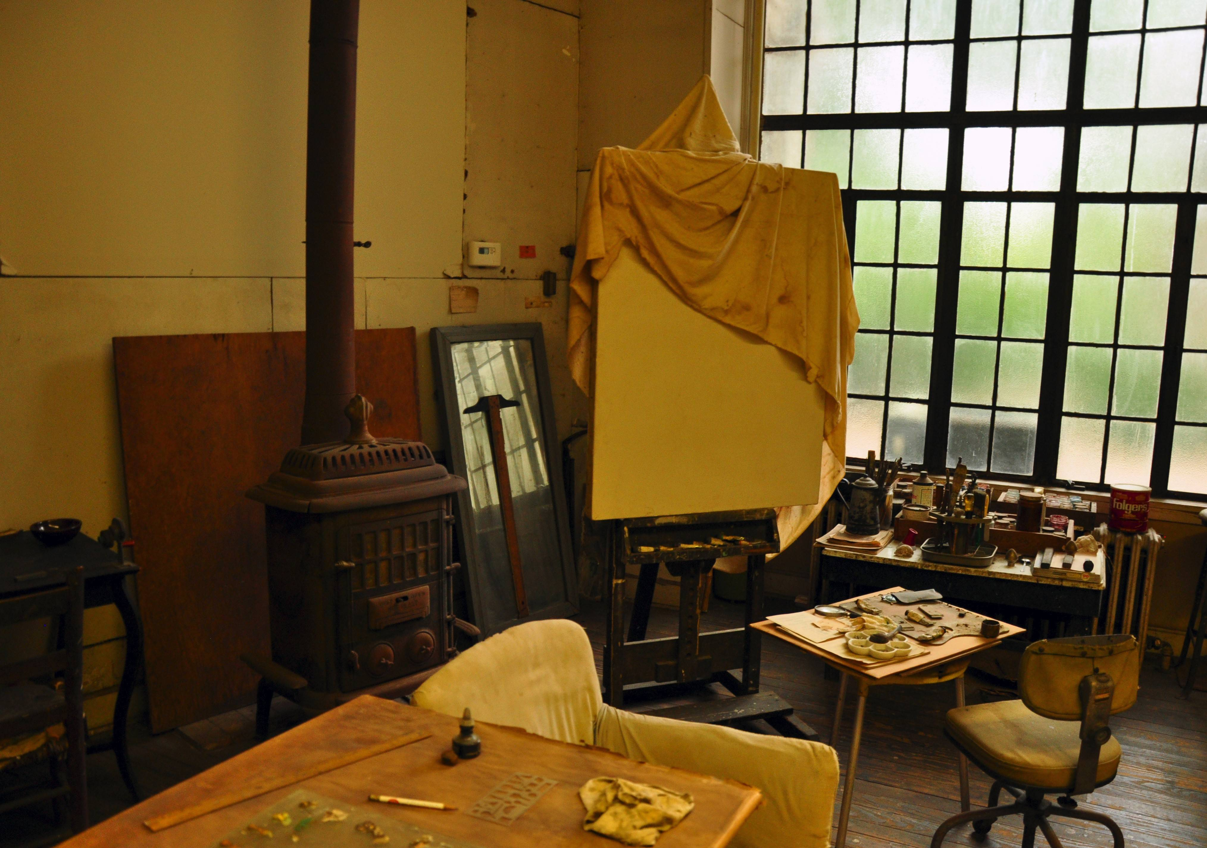 Thomas Hart Benton's studio appears much as he left it when he died there in 1975. The studio and the family home are part of a museum operated by the state of Missouri.