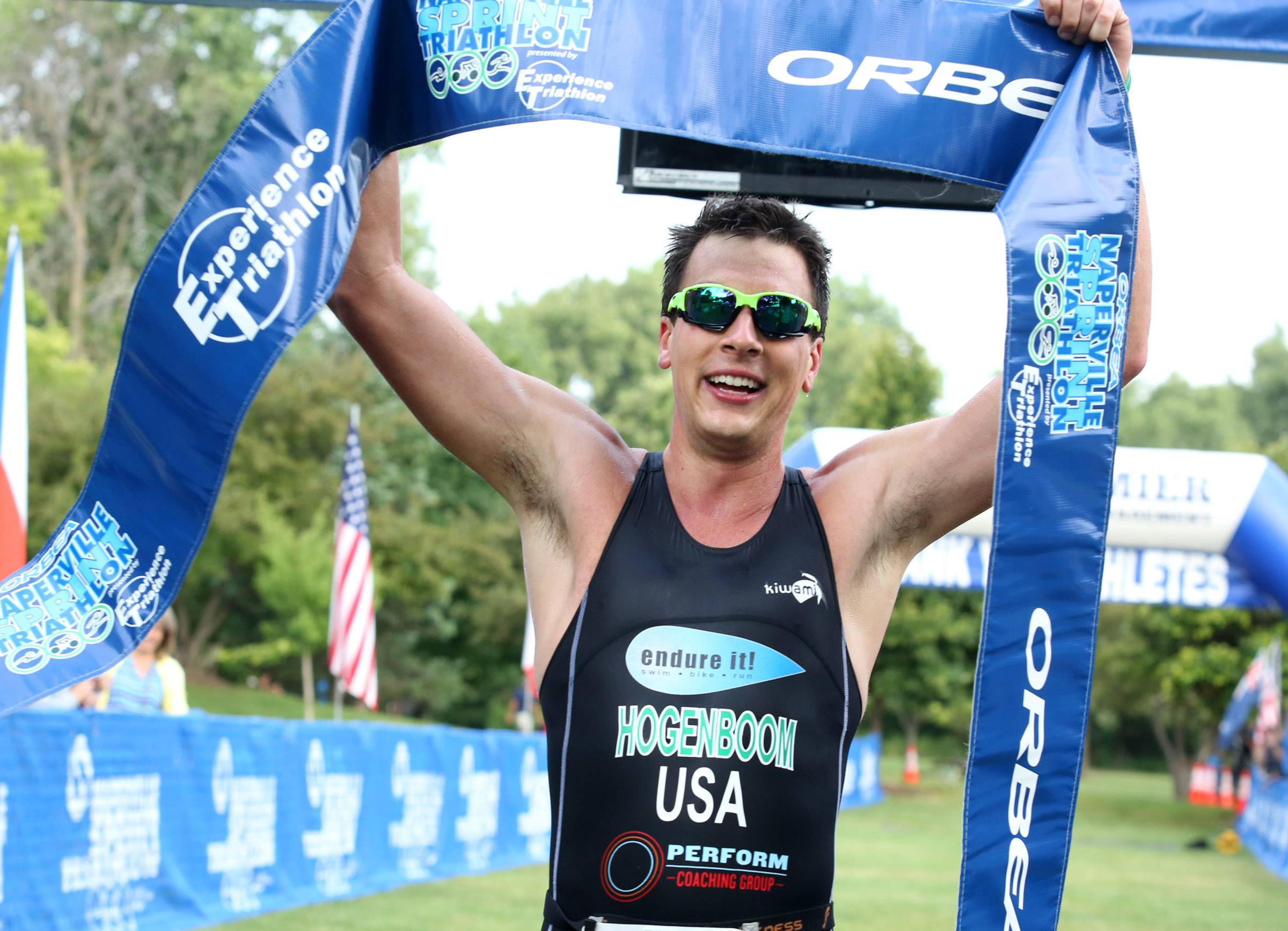 Eric Hogenboom of Naperville wins the Orbea Naperville Sprint Triathlon at Centennial Beach on Sunday in Naperville. The event, in its 14th year, featured a 400-meter swim, 20K bicycle course and 5K run.