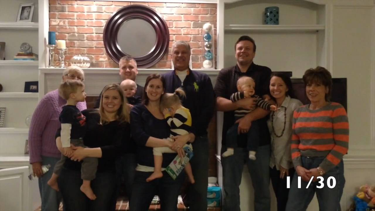 Smiling, blond mom-to-be Erin Marshall, lower left, enjoys a post-Thanksgiving moment with relatives who would help support her through a heart-wrenching pregnancy. The time-lapse video edited by husband, Rob, captures all the highs and lows.