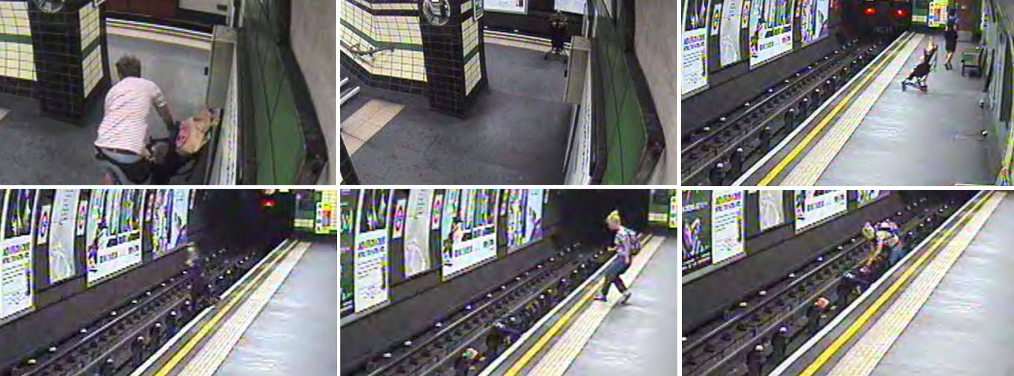 In this combination image taken from video a child in a buggy is blown on to subway tracks at Goodge Street undeground station, London, and a woman leaping to the rescue moments before a train arrived.