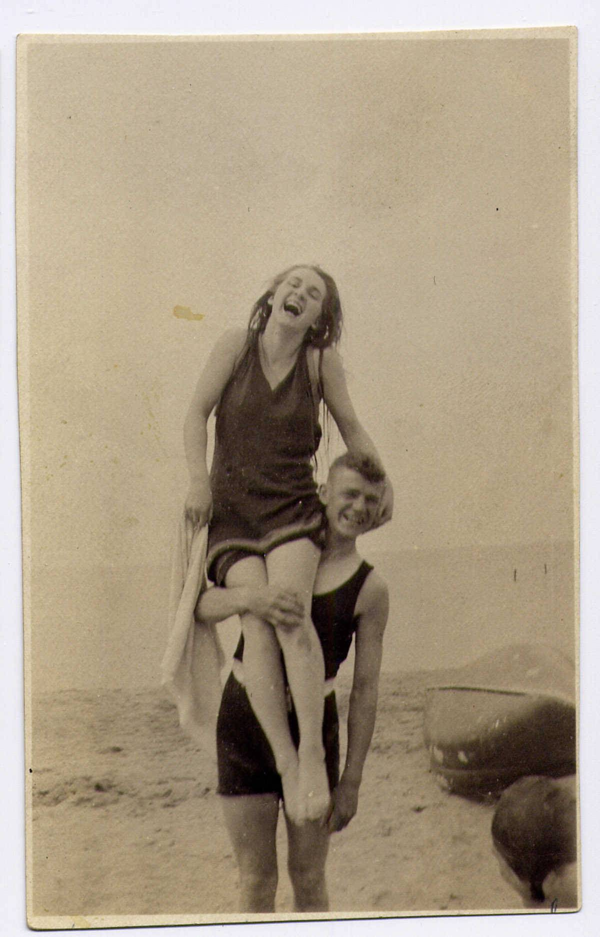Borghild (Bobbie) Aanstad sits on the shoulders of an unknown male friend, circa 1917. She was 14 when she accompanied her mother, sister and uncle on board the Eastland on the morning of July 24, 1915. They survived and it was her stories that inspired her granddaughters to start the Eastland Disaster Historical Society.