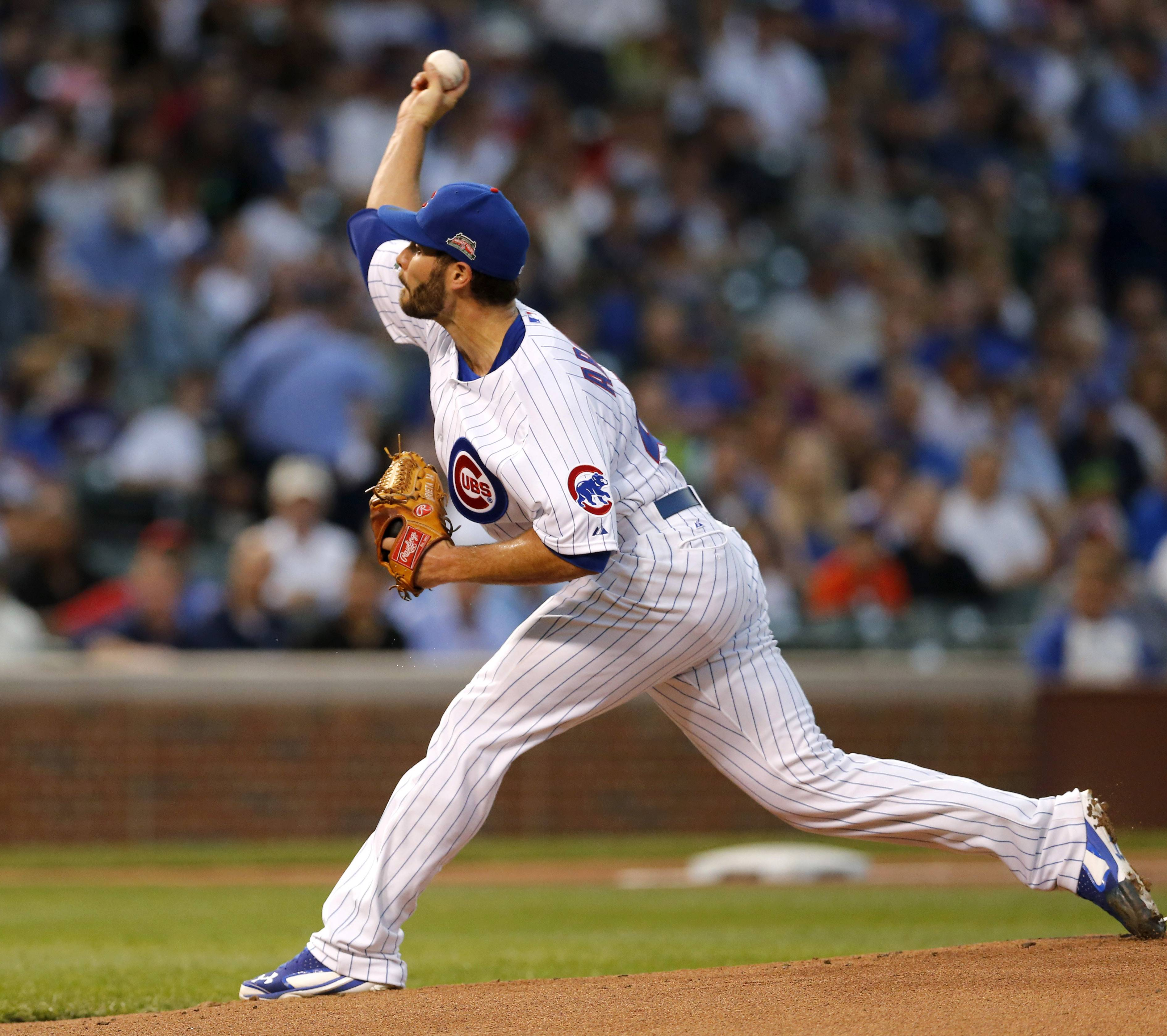 Cubs starting pitcher Jake Arrieta allowed only 2 runs on 5 hits in 7⅓ innings Monday night but took the loss against the Brewers.