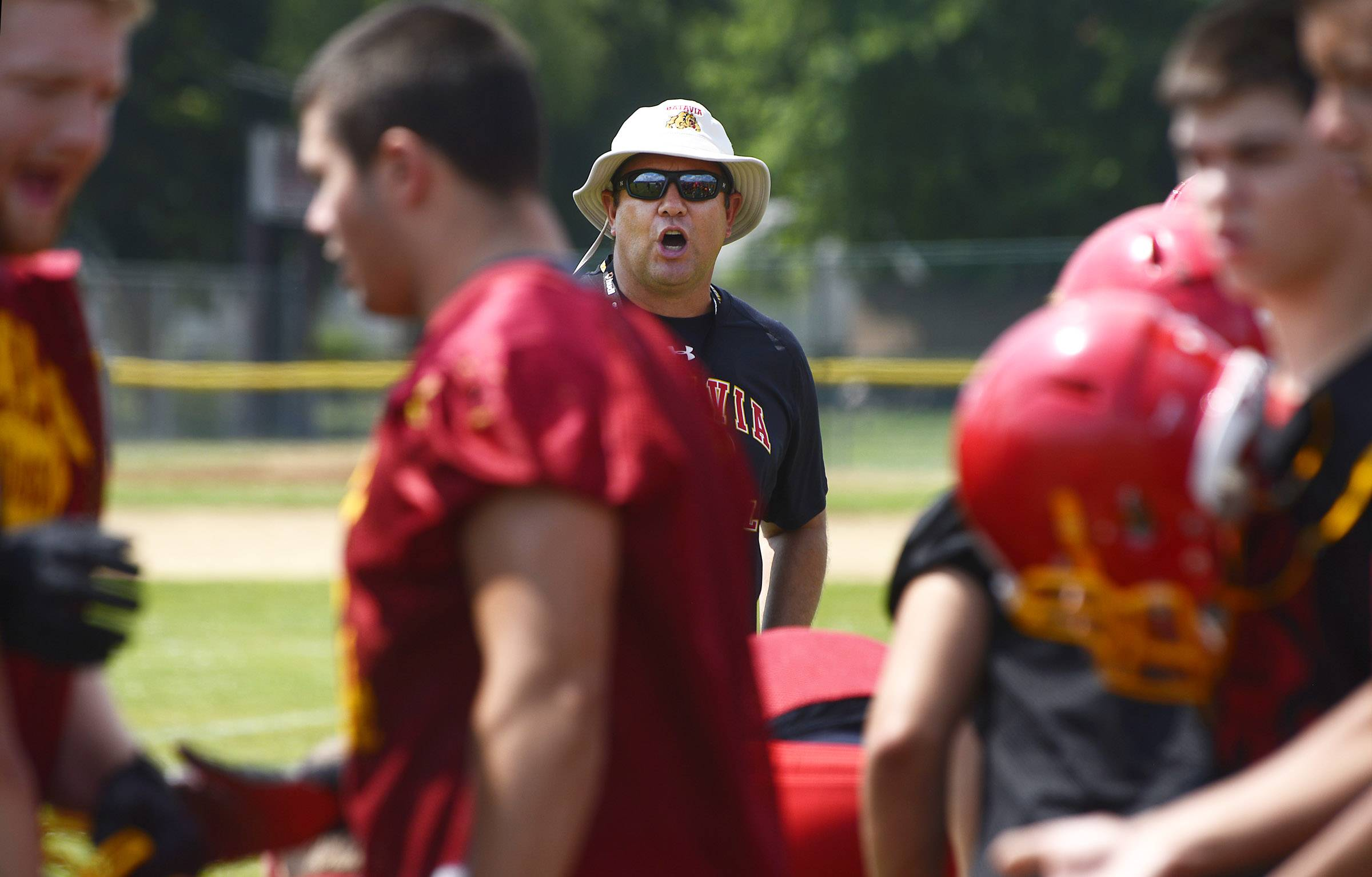 Coach Dennis Piron during Batavia High School football practice Monday.