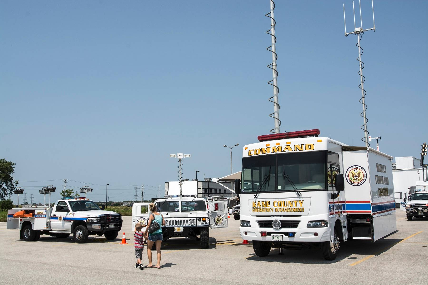 In addition to vintage vehicles, modern machines like a Hummer and Kane County Emergency Department's mobile command center, were on display.