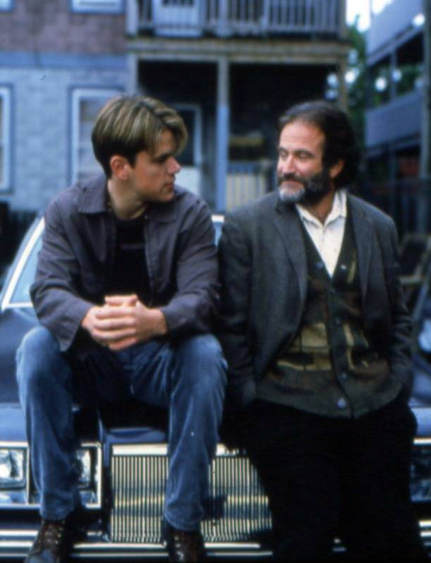 "Robin Williams stars with Matt Damon in ""Good Will Hunting."" Williams would go on to win a best supporting actor Oscar for his work in the film."