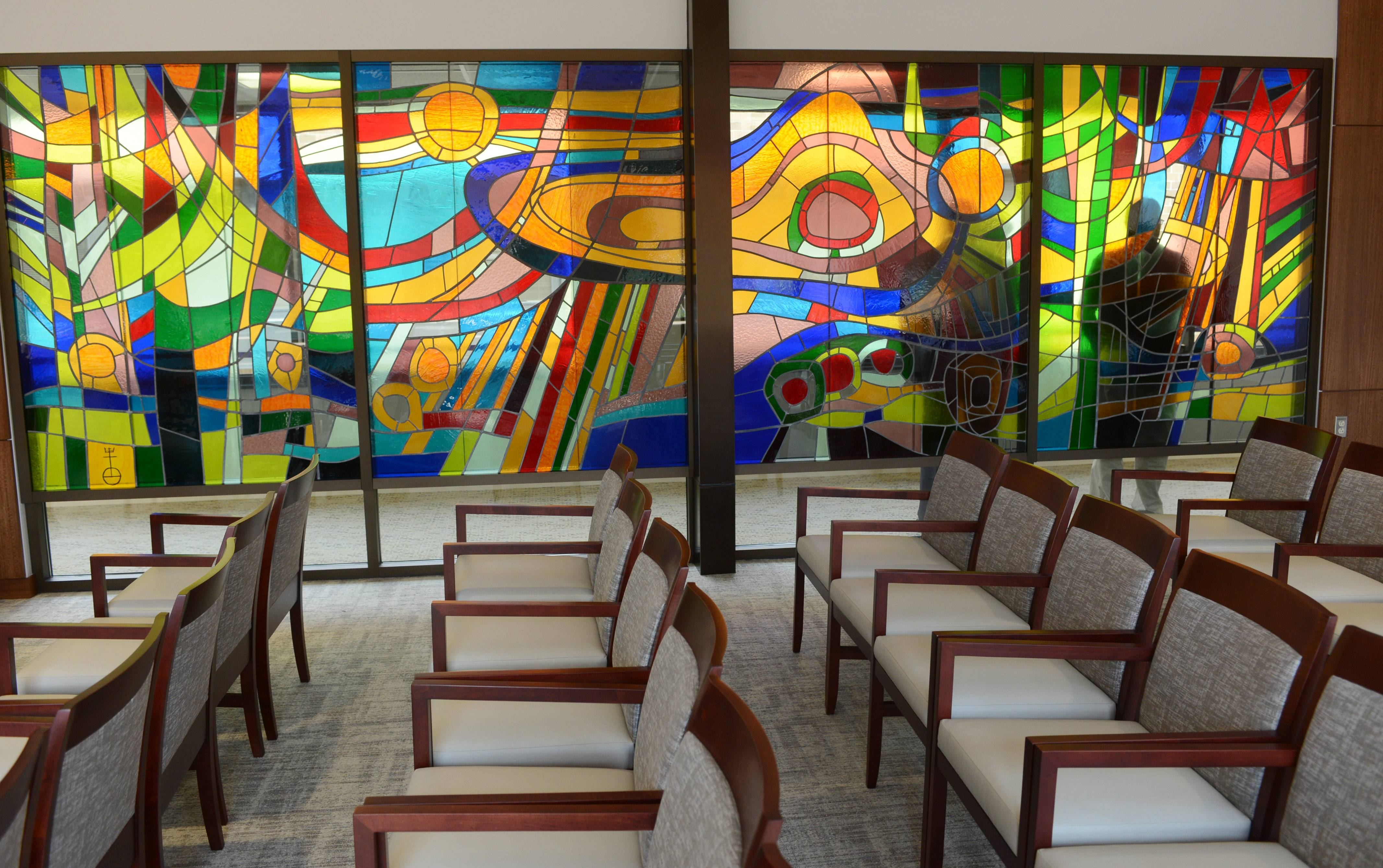 Stained glass windows adorn the new chapel at Advocate Good Shepherd Hospital near Barrington. The new chapel, built as part of a $247 million hospital modernization project, will be dedicated today.
