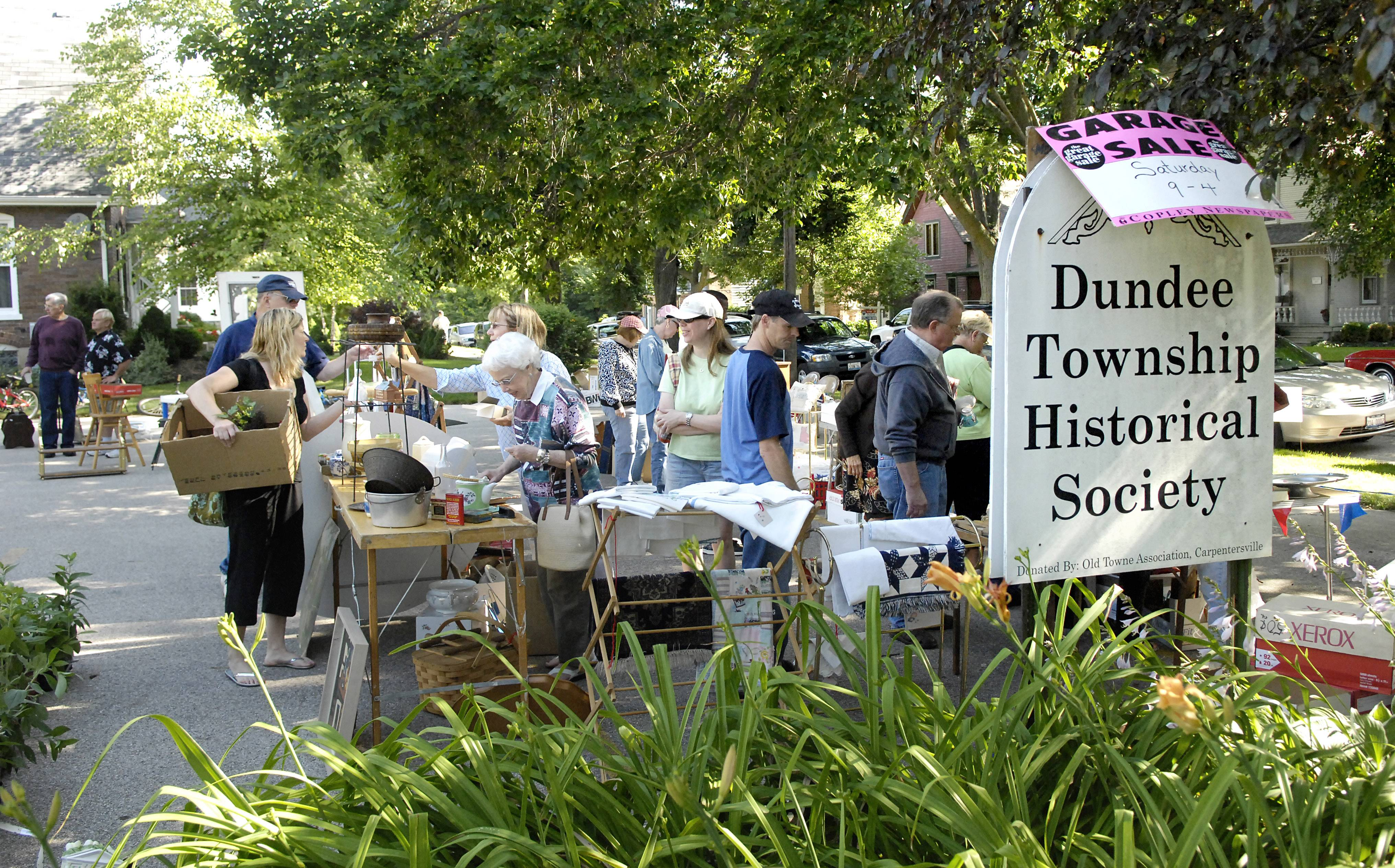 Stop by the Dundee Township Historical Society's annual garage sale on Saturday, Aug. 16, featuring antiques, collectibles, books, vintage linens, furniture, crystal and glassware, toys, Barbie dolls, and more.