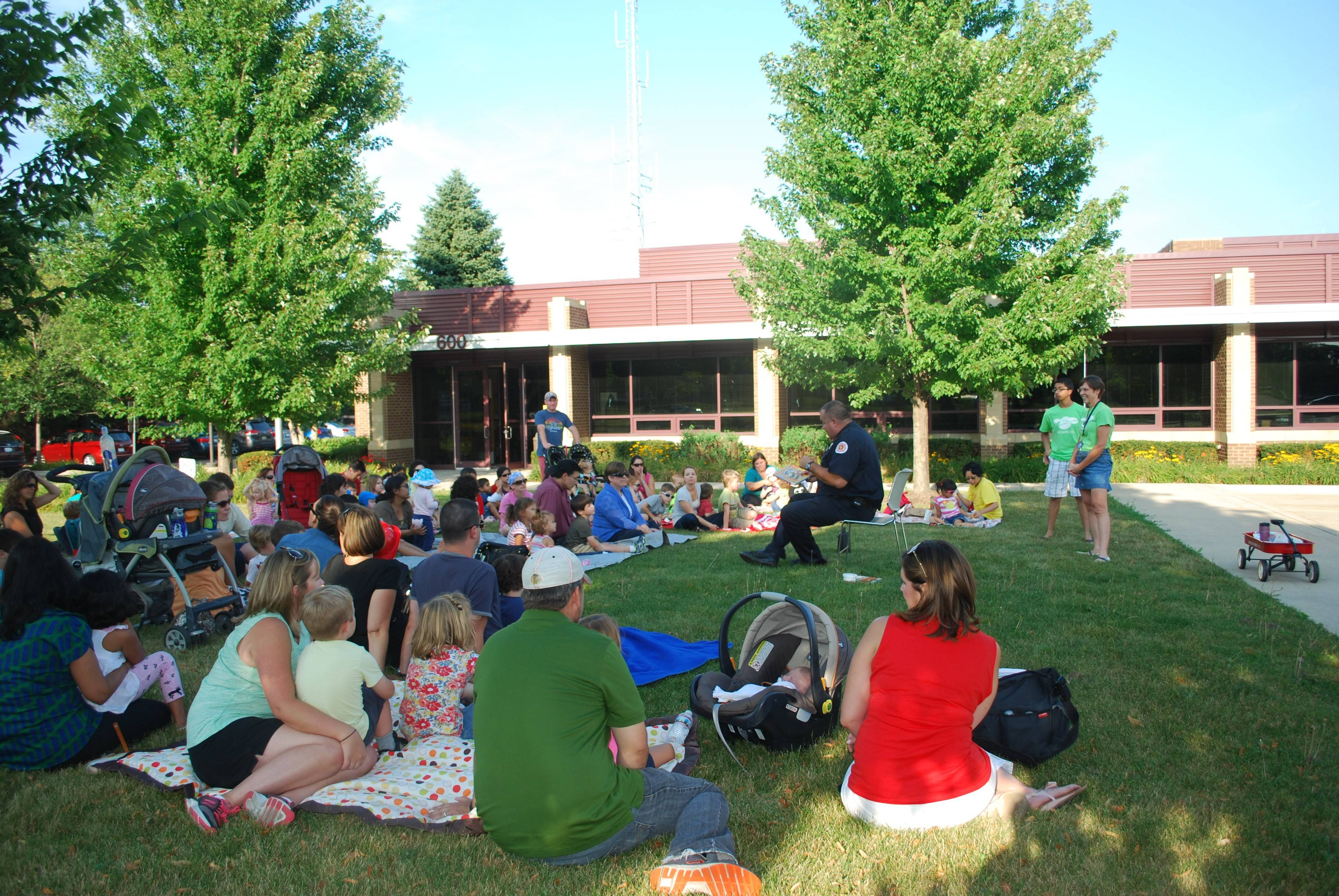 Countryside Fire Protection District recently hosted the Cook Memorial Public Library Storytelling evening in front of the firehouse in Vernon Hills.