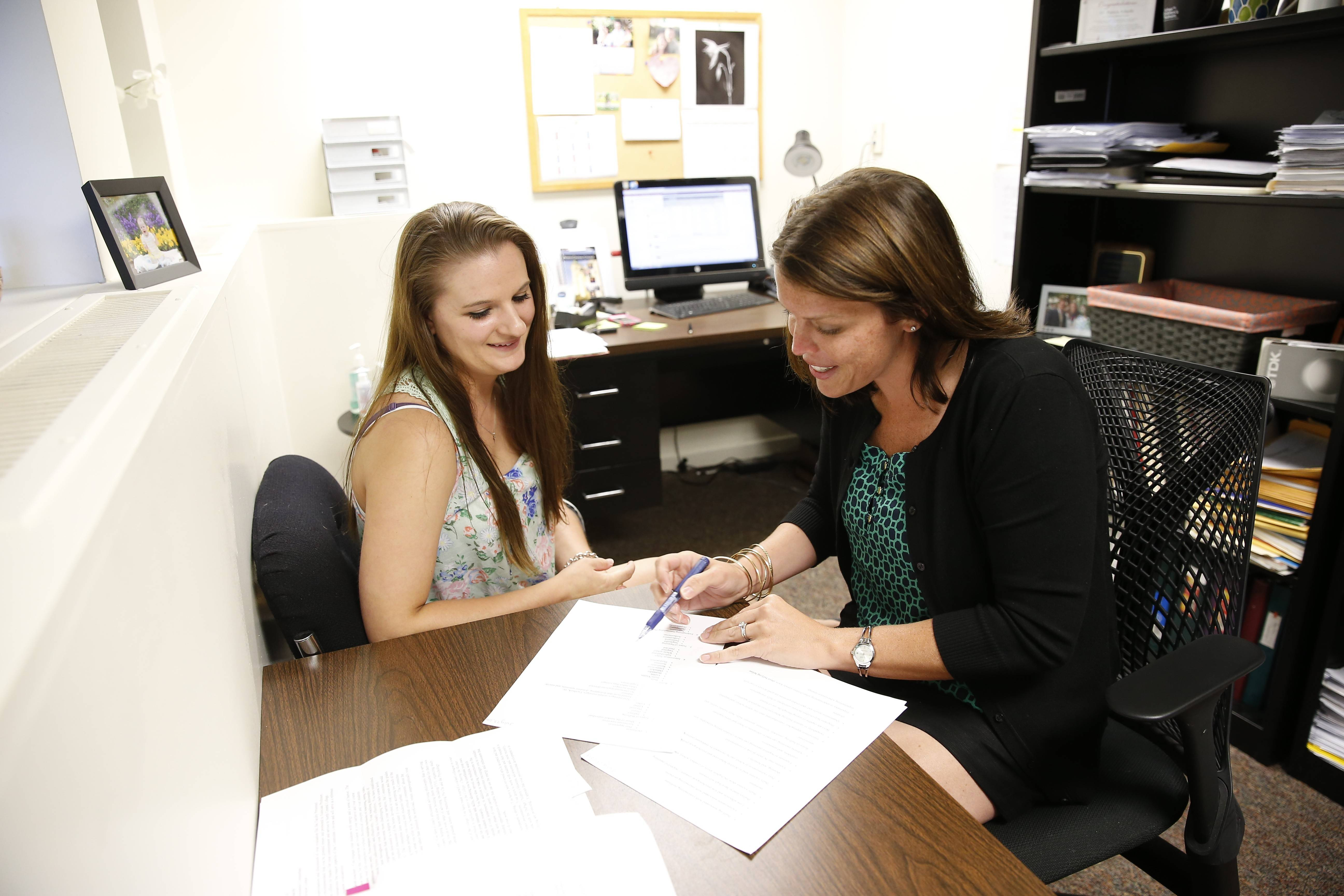 Michaela Vilim, a junior from Naperville, assisted North Central College associate professor of psychology Patricia Schacht with research about bullying.