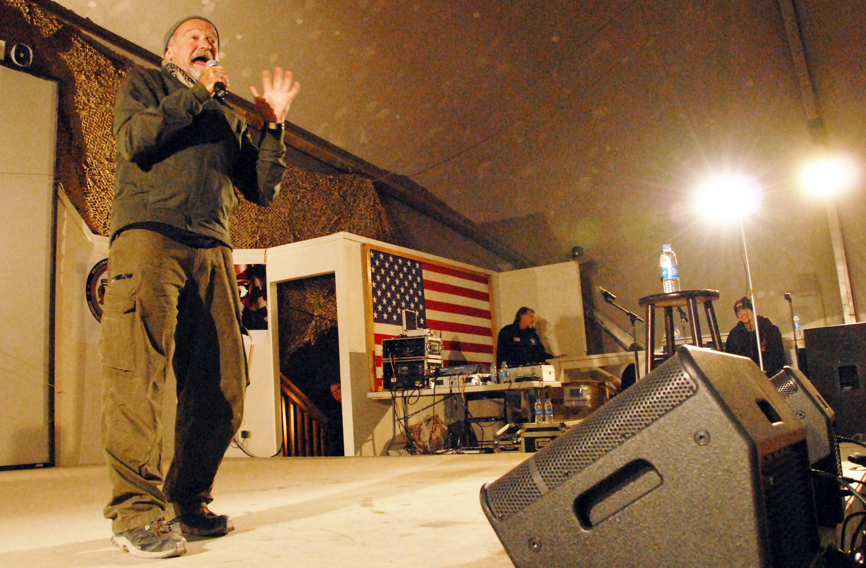 Actor-comedian Robin Williams performs for a USO tour at Bagram Airfield in Afghanistan. Members of the armed forces have long held special affection for Williams, 63, who died Monday.