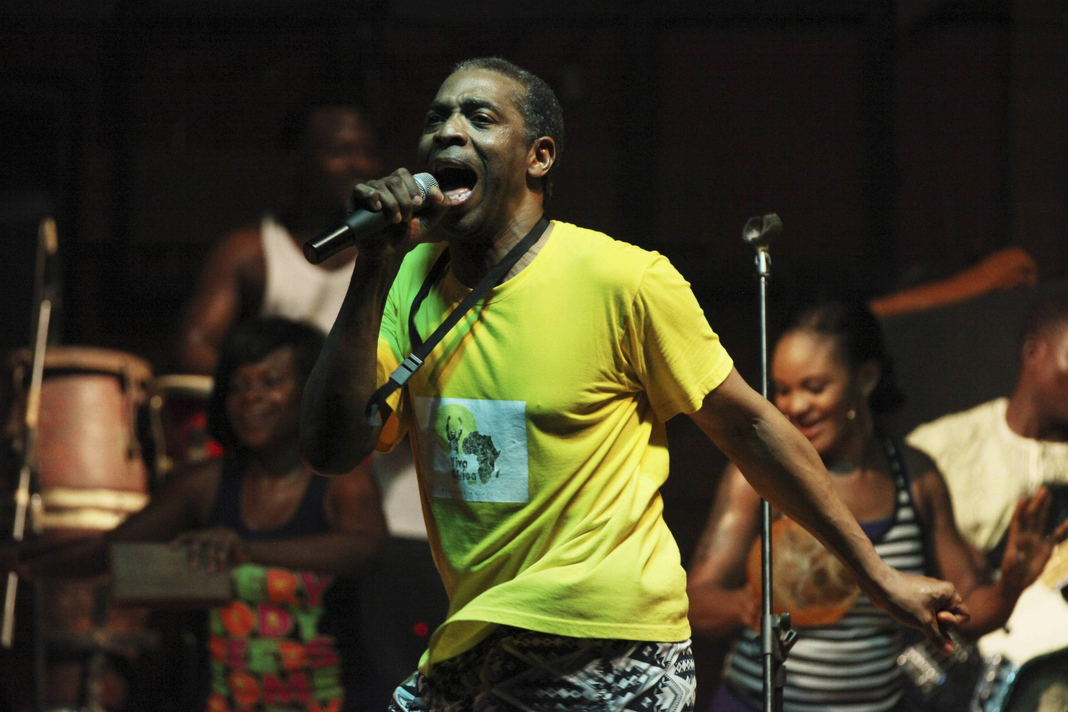 "Singer Femi Kuti performing last year at the New Afrika Shrine in Lagos, Nigeria. The son of Fela Kuti, whose career as a musician and political activist was celebrated by the three-time Tony Award-winning play ""Fela!,"" has in recent days been thinking more than ever about his father with the release of the latest work on his life, ""Finding Fela,"" the documentary by Academy Award-winning director Alex Gibney."