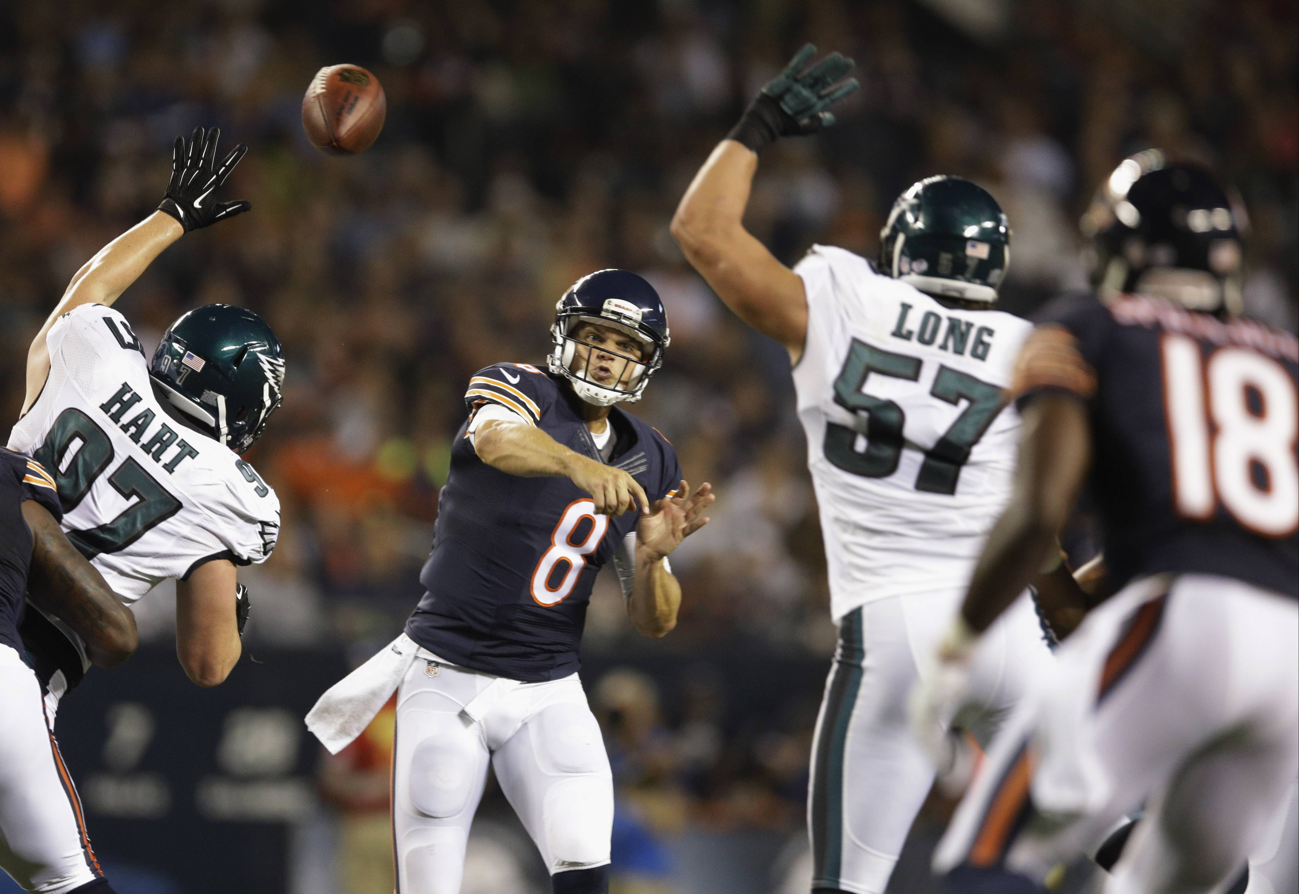 Jimmy Clausen, shown here against the Eagles in Friday's preseason opener, will continue his quest to be the Bears' backup quarterback Thursday against the Jaguars at Soldier Field in the second preseason game.