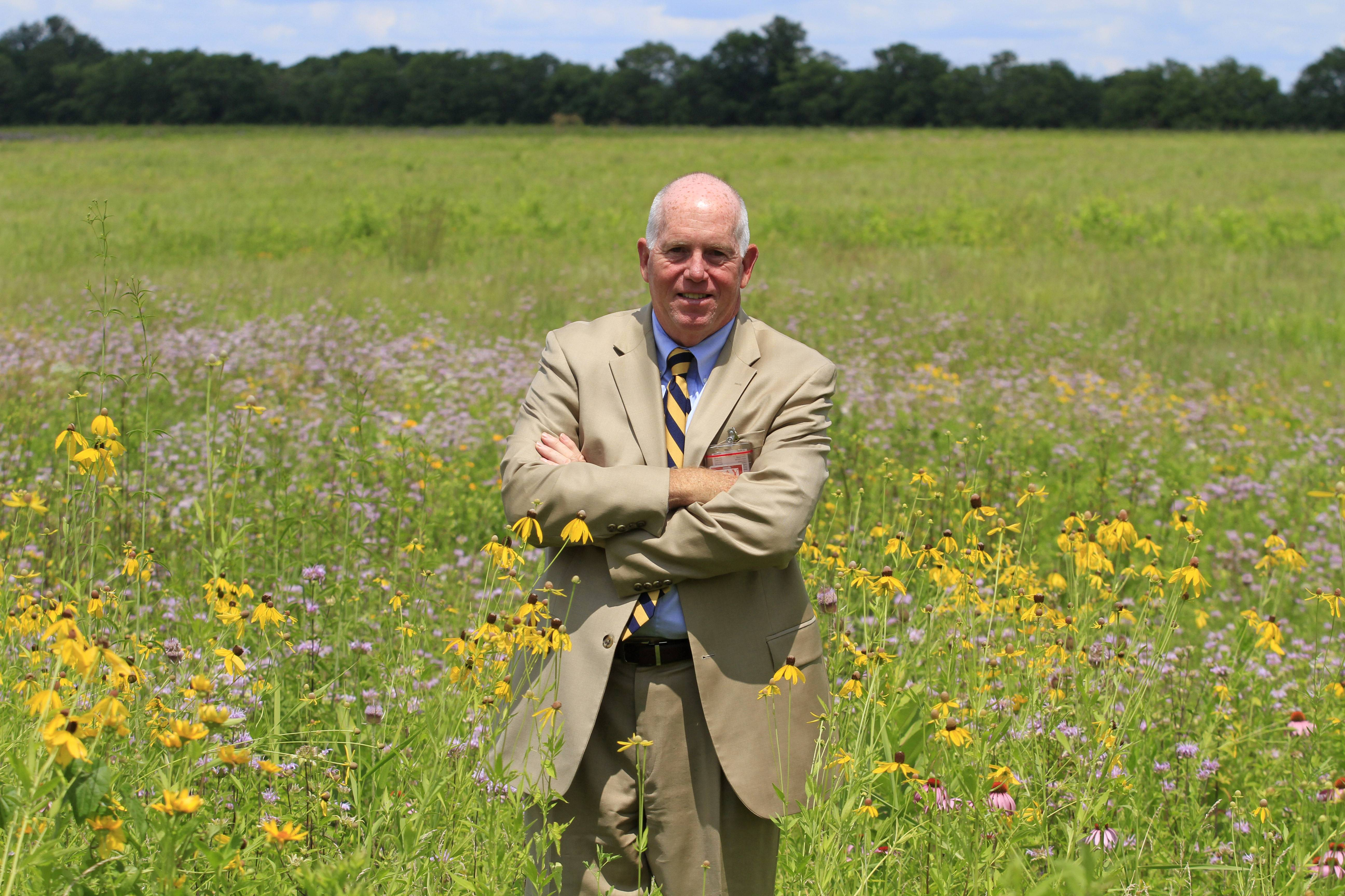 Terrence Slaybaugh, director of aviation for Dayton International Airport, at one of the airport's prairies in Vandalia, Ohio. In an effort to keep birds away from aircraft, the airport is experimenting by planting the tall prairie grass. Heavy birds like geese, which cause the most damage to planes, are believed to avoid long grasses because they fear predators might be hiding within.