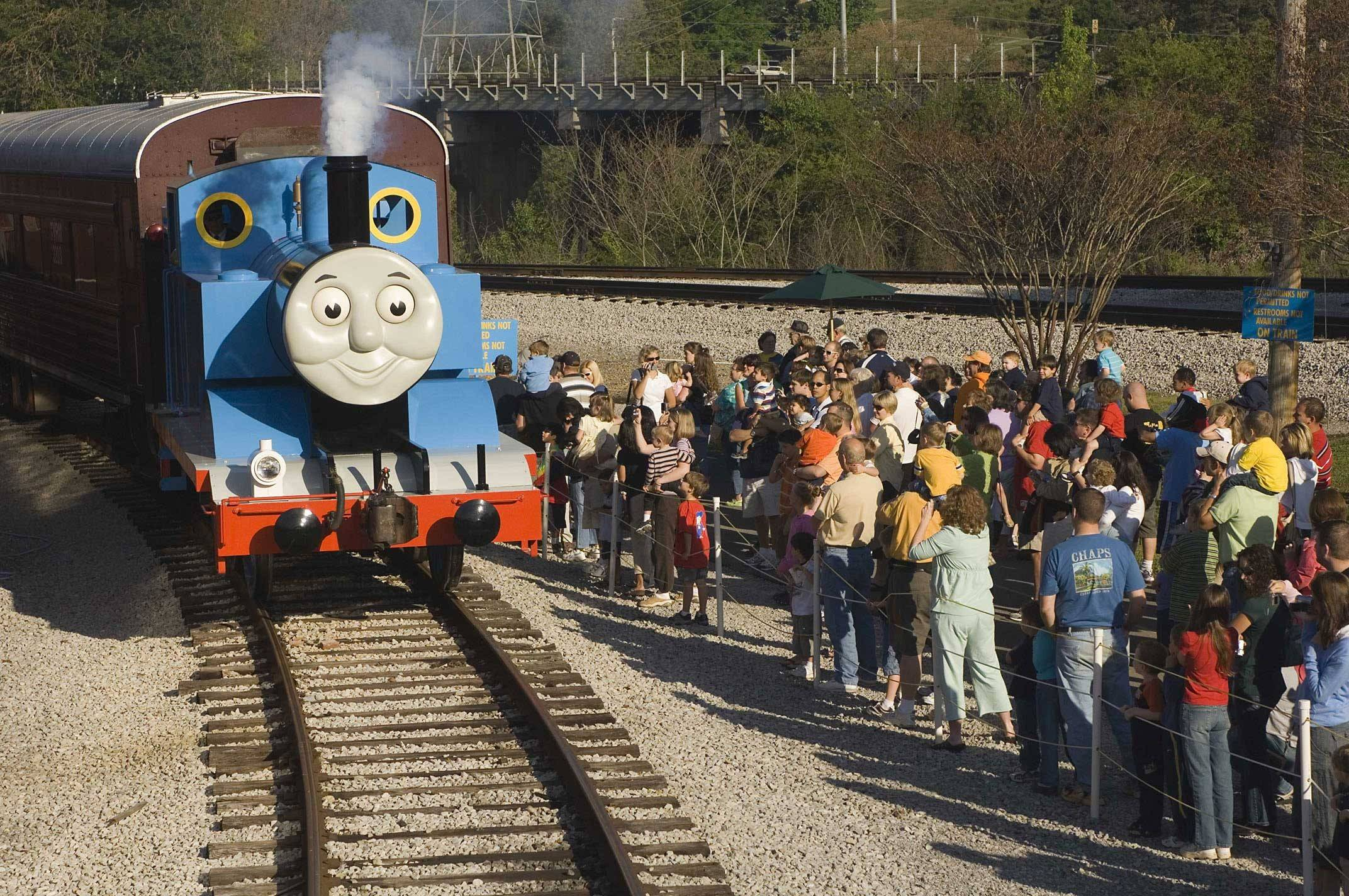 Crowds gather to cheer for Thomas The Tank Engine as the Illinois Railway Museum in Union.