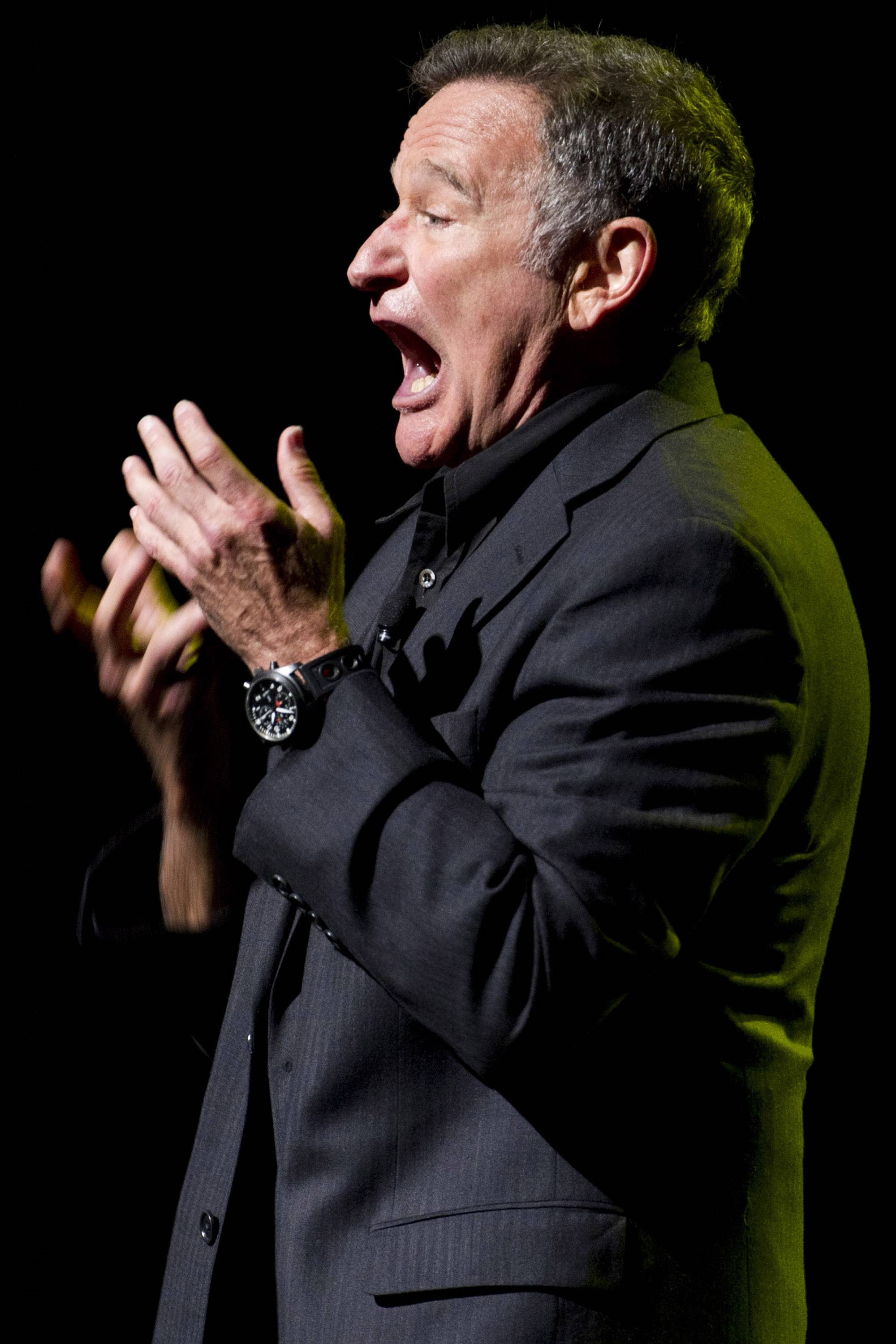 Robin Williams performed at the 6th Annual Stand Up For Heroes benefit concert for injured service members and veterans in 2012. Williams, whose free-form comedy and adept impressions dazzled audiences for decades, died Monday. He was 63.
