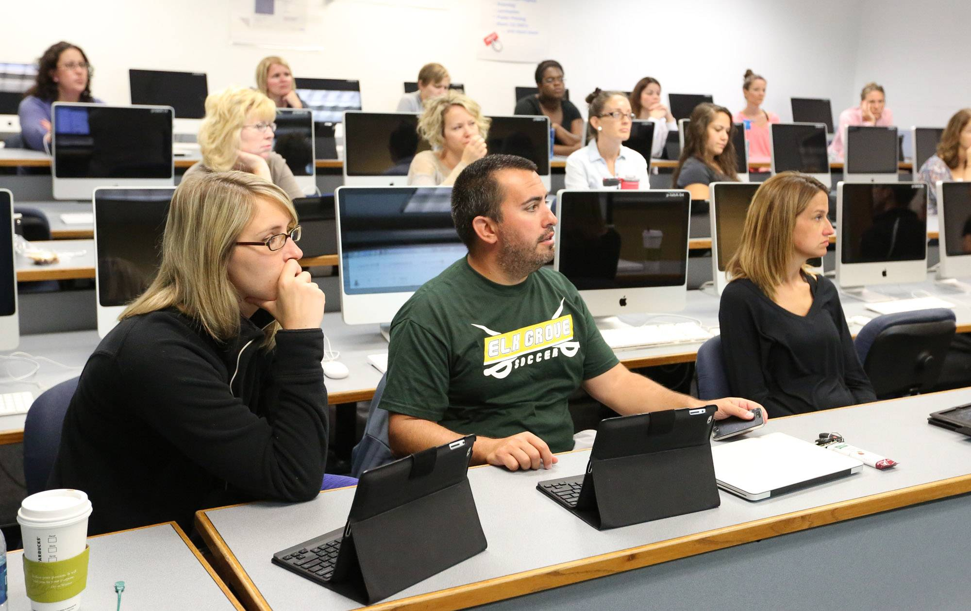 North Suburban High School Dist. 214 teachers learn how to use iPads in their curriculum at Prospect High School in Mount Prospect.
