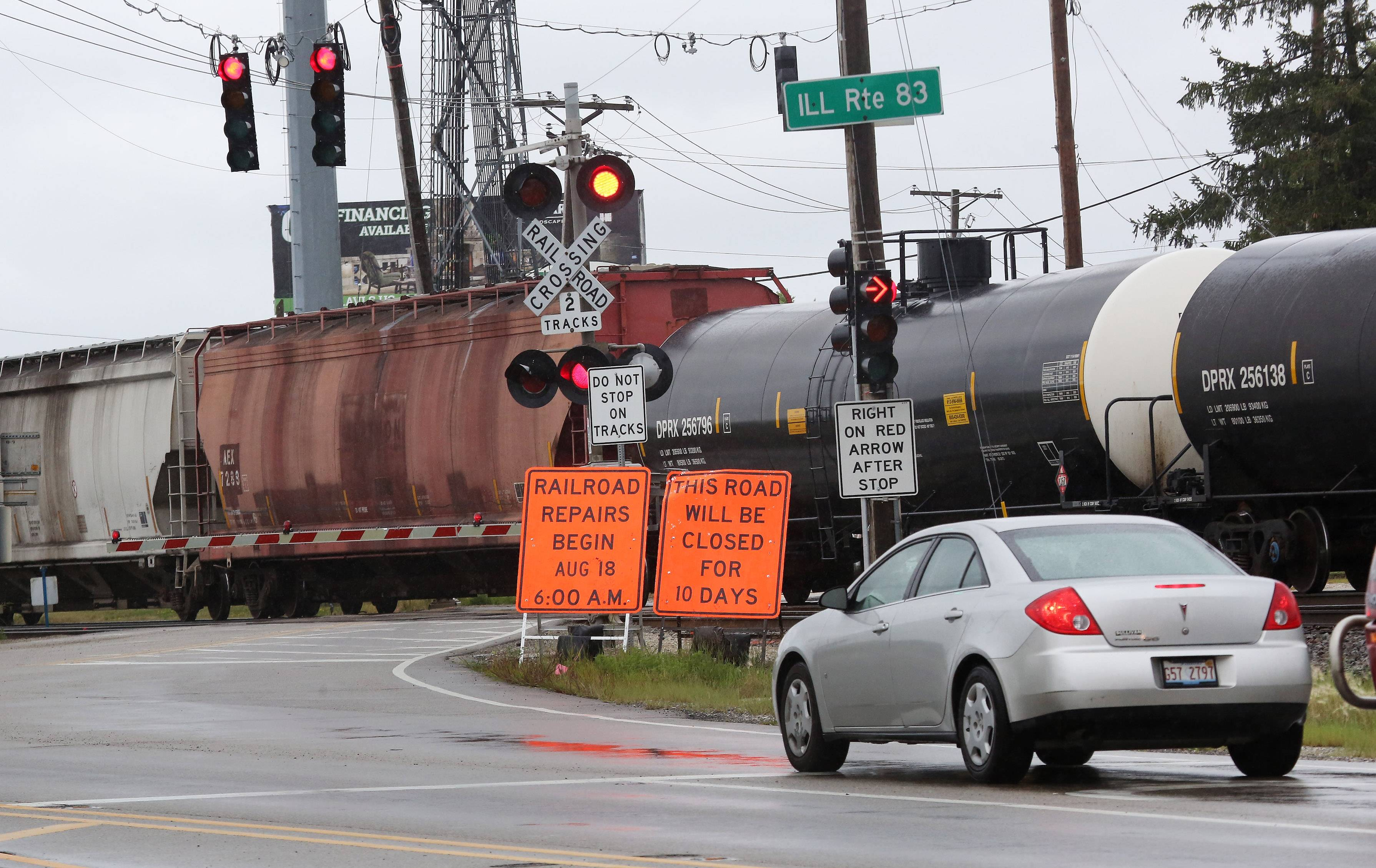 Signs alert drivers the Route 83 railroad crossing in Grayslake will be closed for track repairs starting Monday, Aug. 18. The work is to last 10 days.