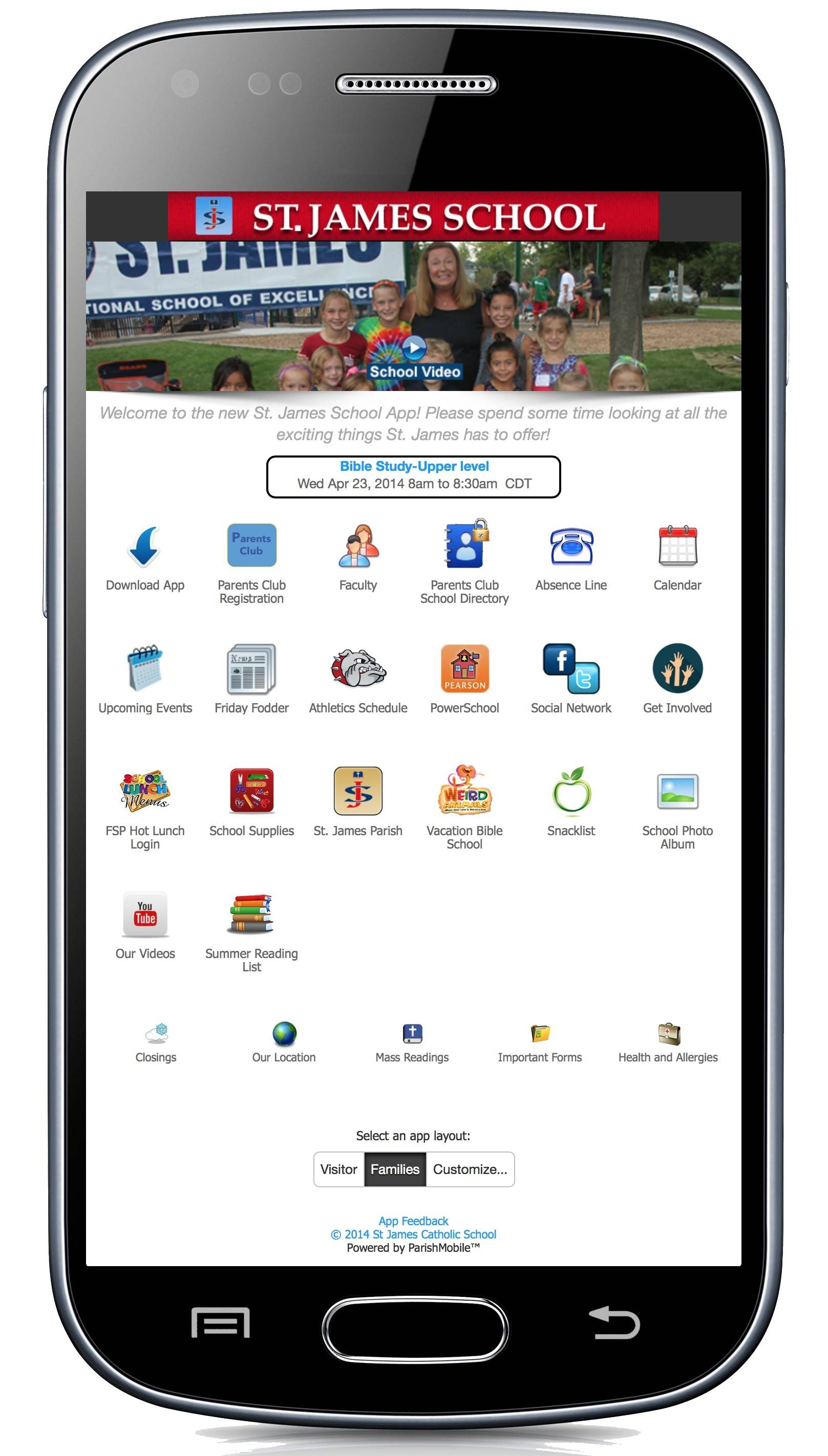 New mobile application gives families easy access to keep up and interact with St. James School.