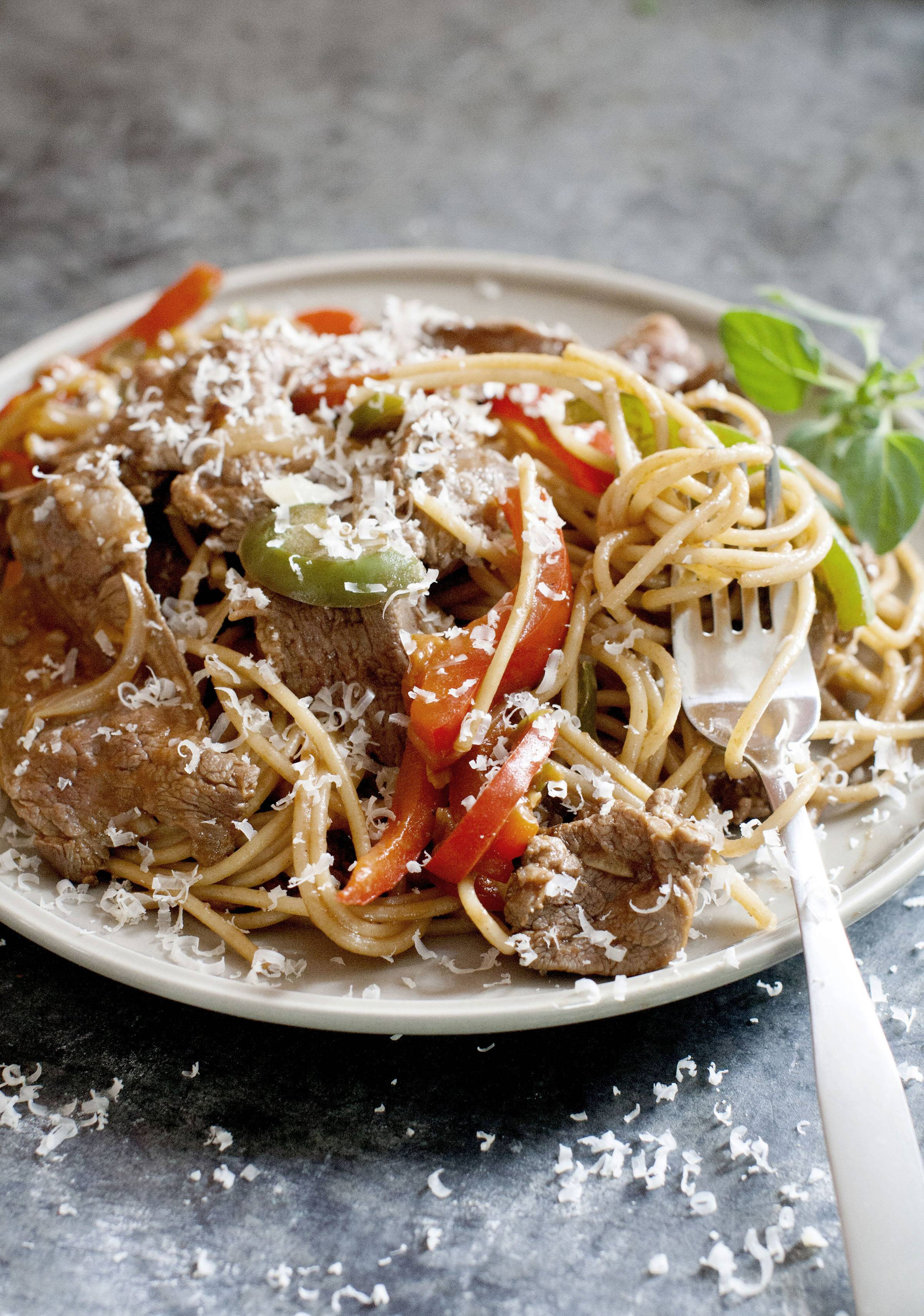 Steak and cheese grinder recast as a pasta dinner in less than 30 minutes