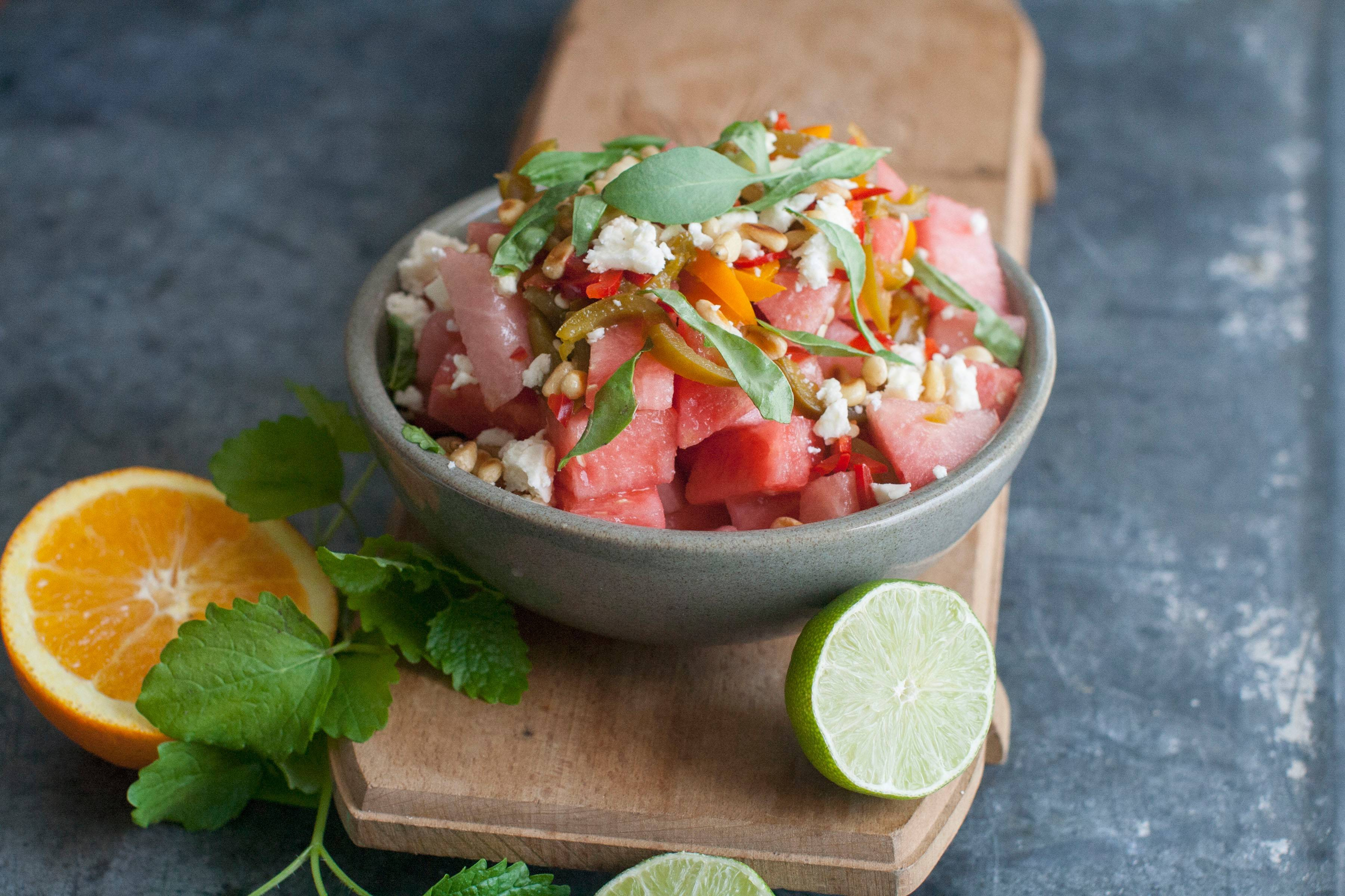 Spicy Watermelon Salad with Feta and Basil