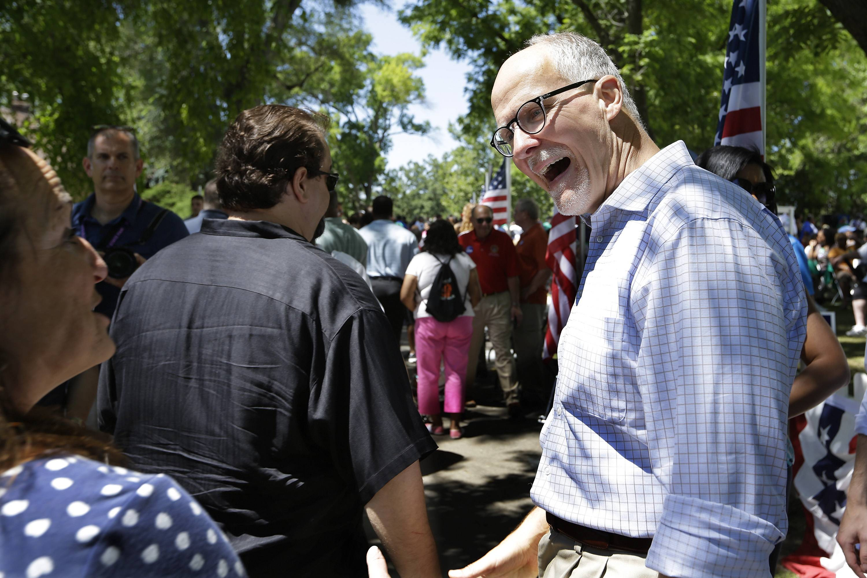 Paul Vallas, who is running for lieutenant governor as the running mate to Illinois Gov. Pat Quinn, campaigns and participates in Governor's Day at the Illinois State Fair, Wednesday in Springfield.
