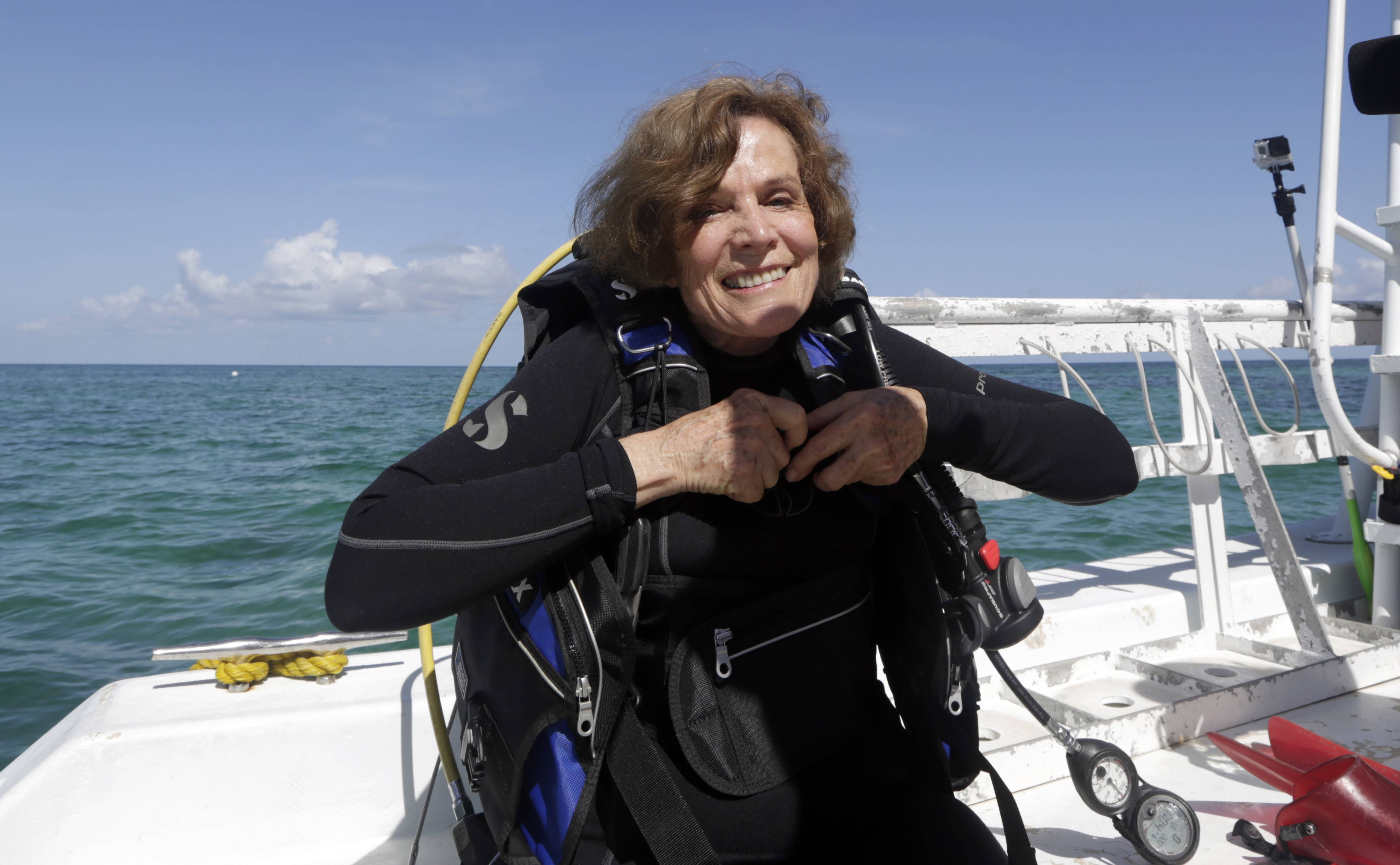 "Marine biologist Sylvia Alice Earle prepares to survey the corals off the coast of Islamorada, Fla. U.S. government scientists hope people will soon be able to go online and get a 360-degree view of reefs and other underwater wonders, much like Google Map's ""street view"" lets people look at homes."