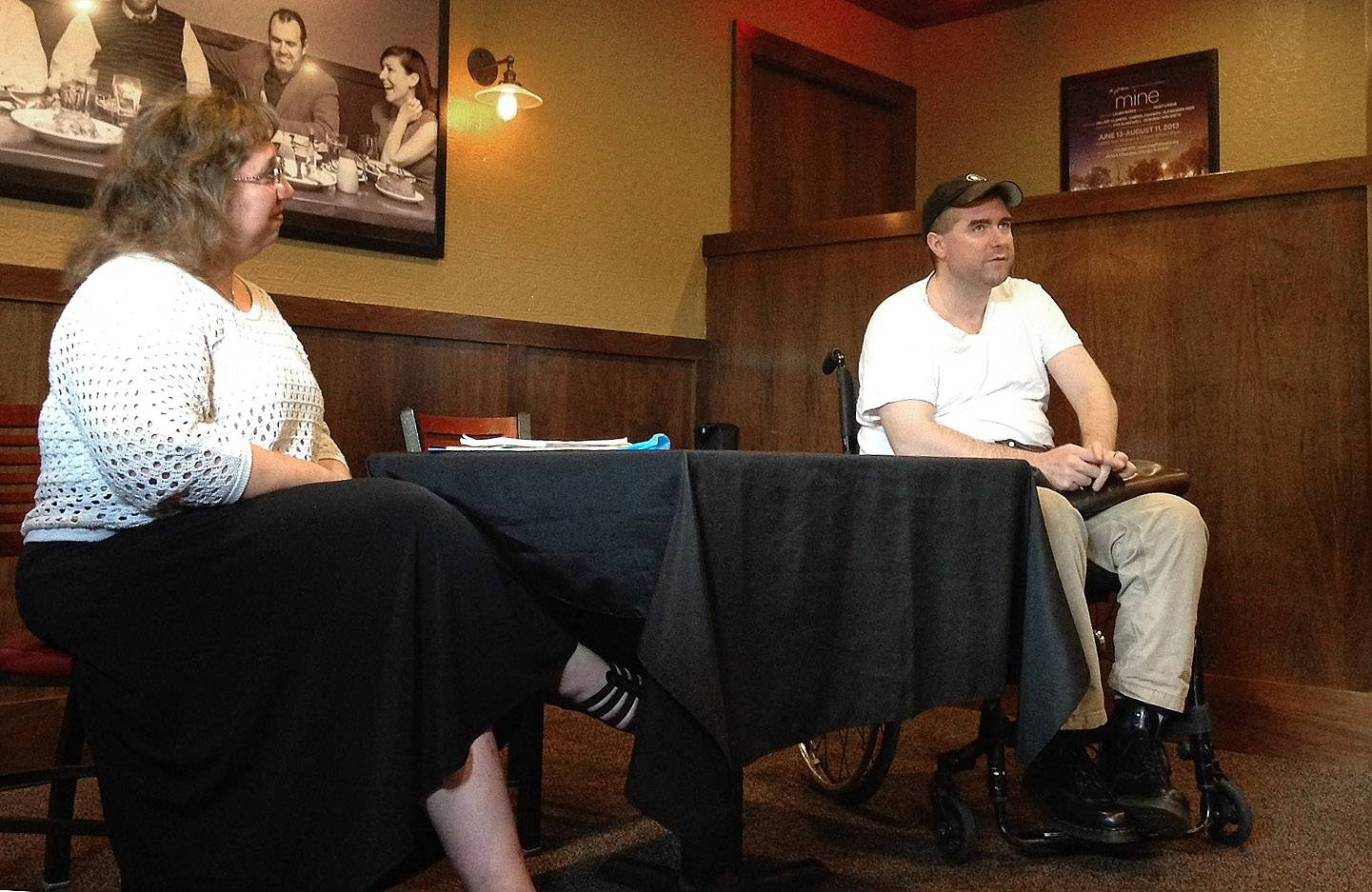 "Daily Herald columnist Barbara Vitello speaks with actor Michael Patrick Thornton at the Gale Street Inn in Chicago during a Daily Herald subscriber event. Thornton is the co-founder of The Gift Theatre in Chicago and portrayed Iago in their production of ""Othello."""